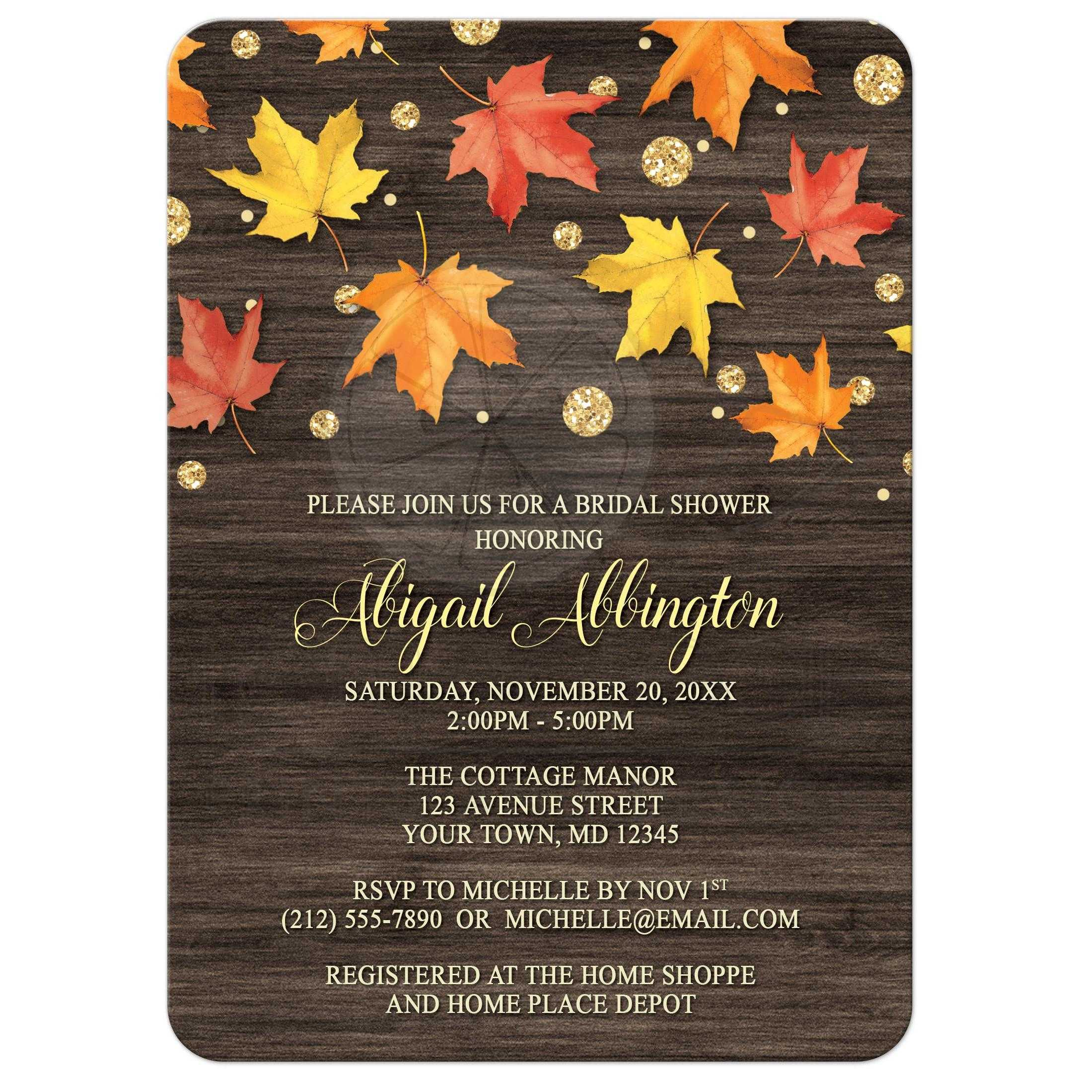 Shower Invitations - Falling Leaves with Gold Autumn