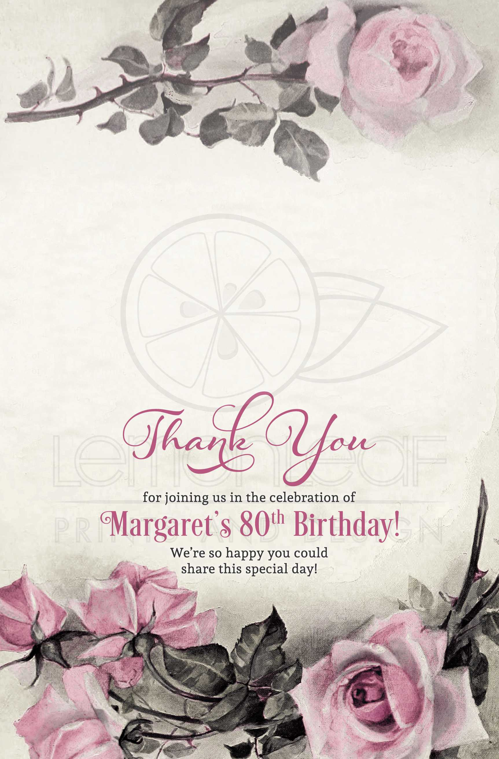 80th birthday thank you card folded vintage pink grey rose izmirmasajfo