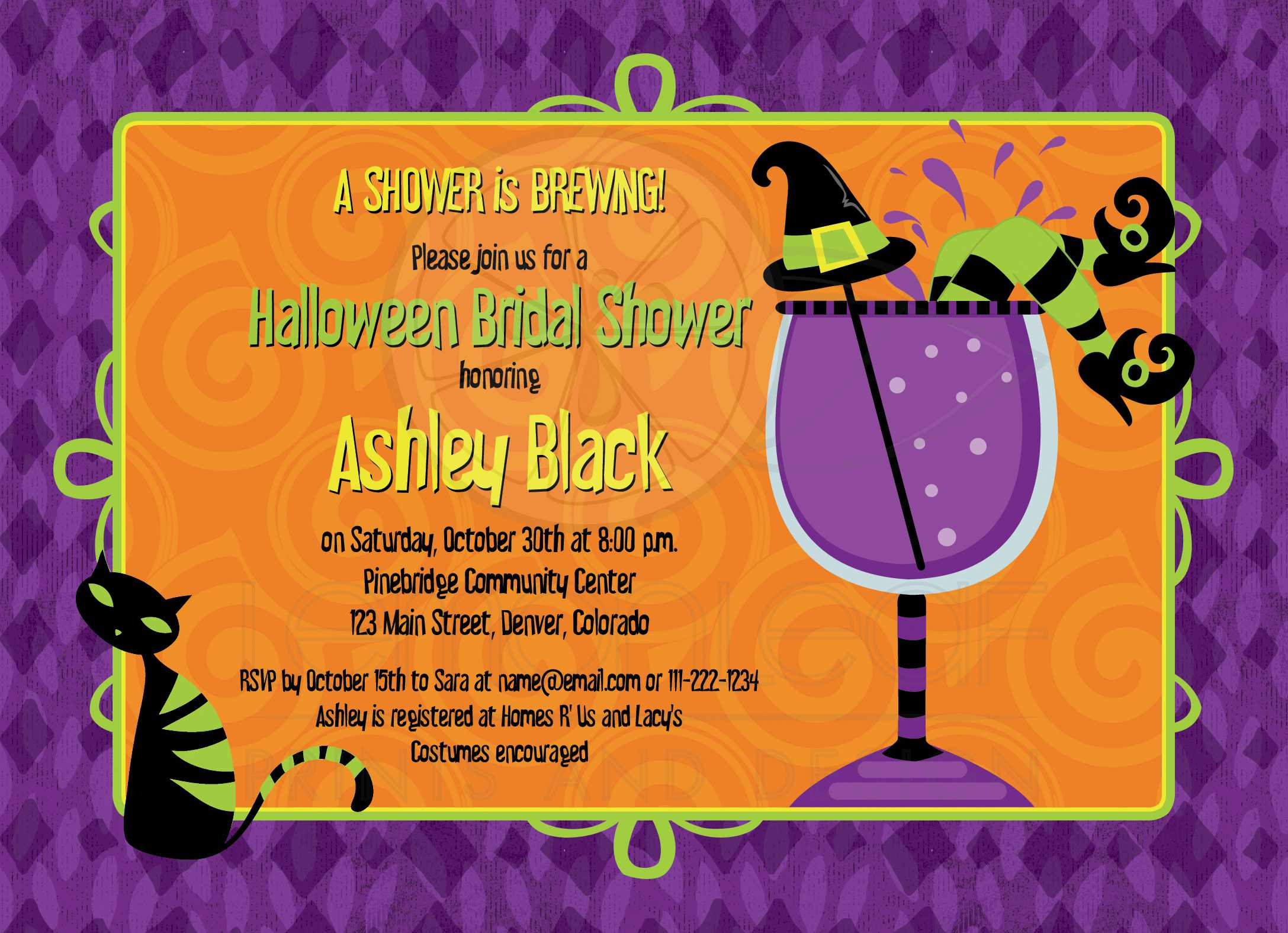 halloween bridal shower invitation witches brew cocktail party