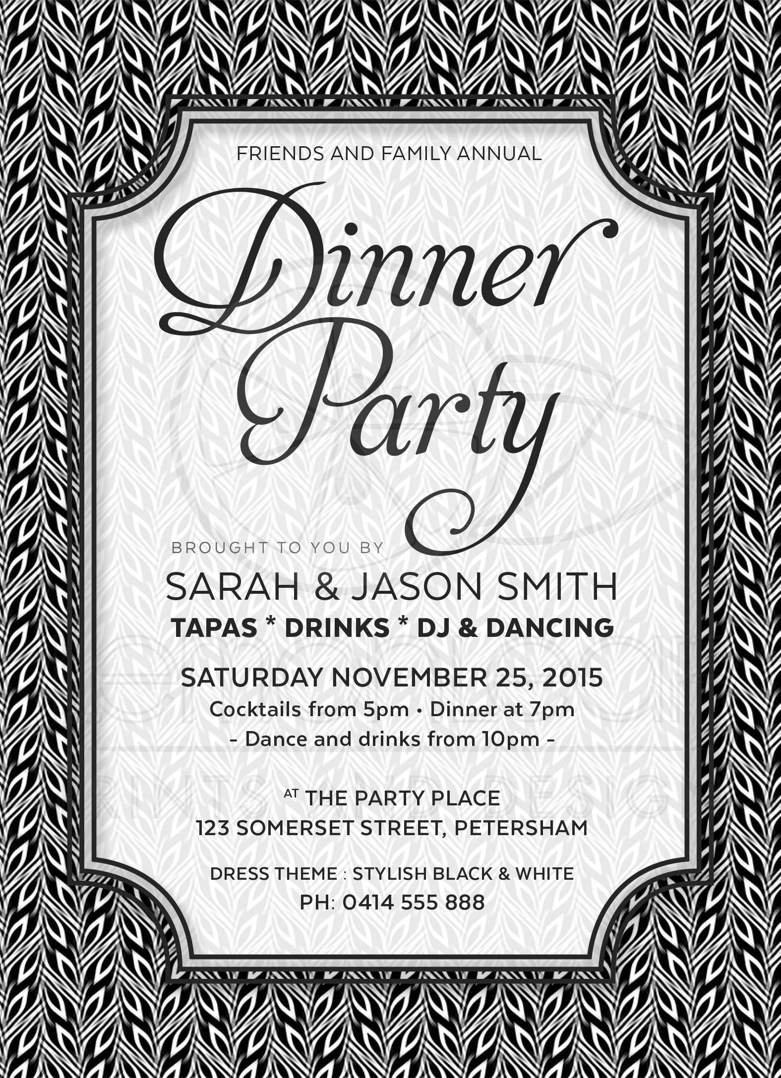 Black and White Dinner Party Invitation   Simply Stylish 02