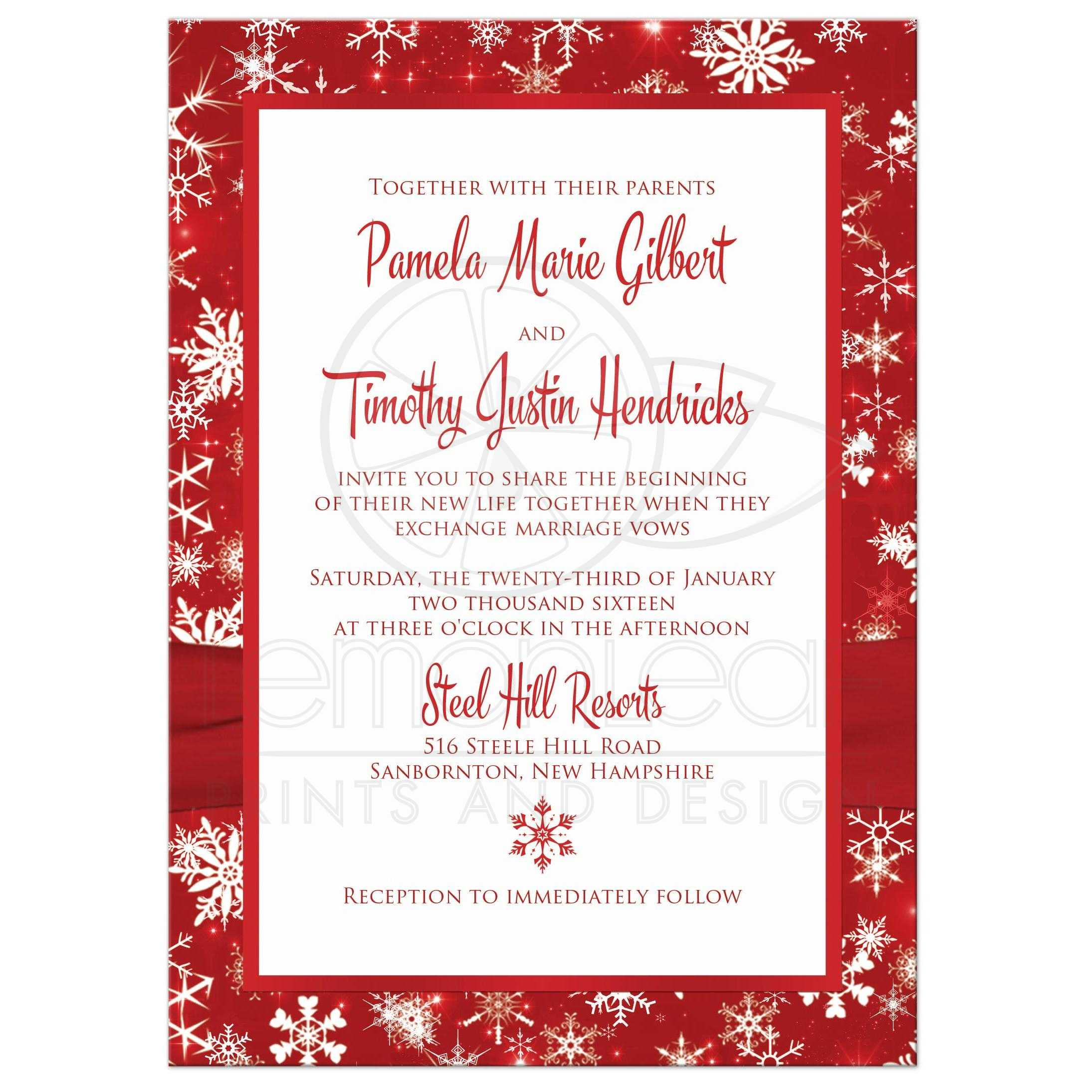 Winter Wedding Invitation | Red, White Snowflakes | Printed Ribbon ...
