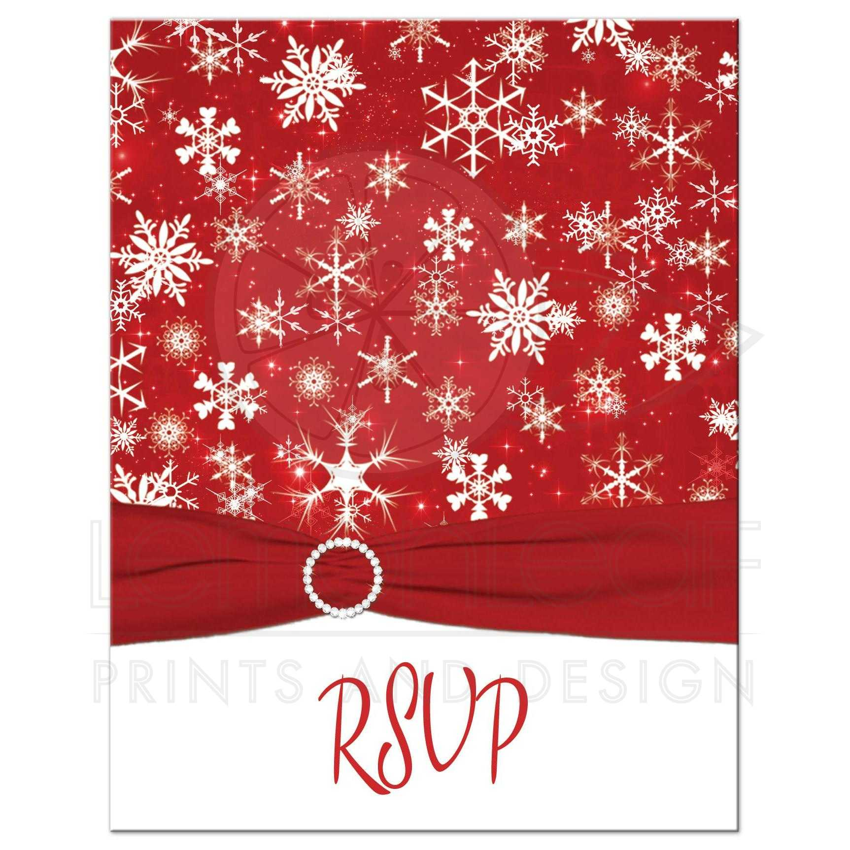 A2 Winter Wedding RSVP Card   Red, White Snowflakes   Printed Ribbon ...