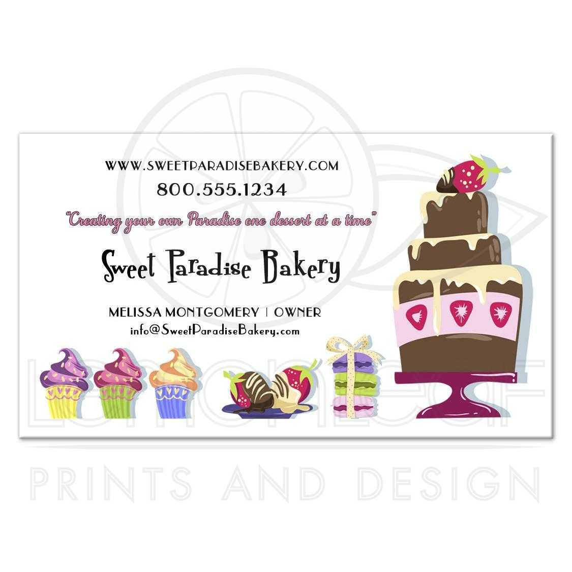 Adorable and fun sweet paradise professional bakery business cards reheart Choice Image