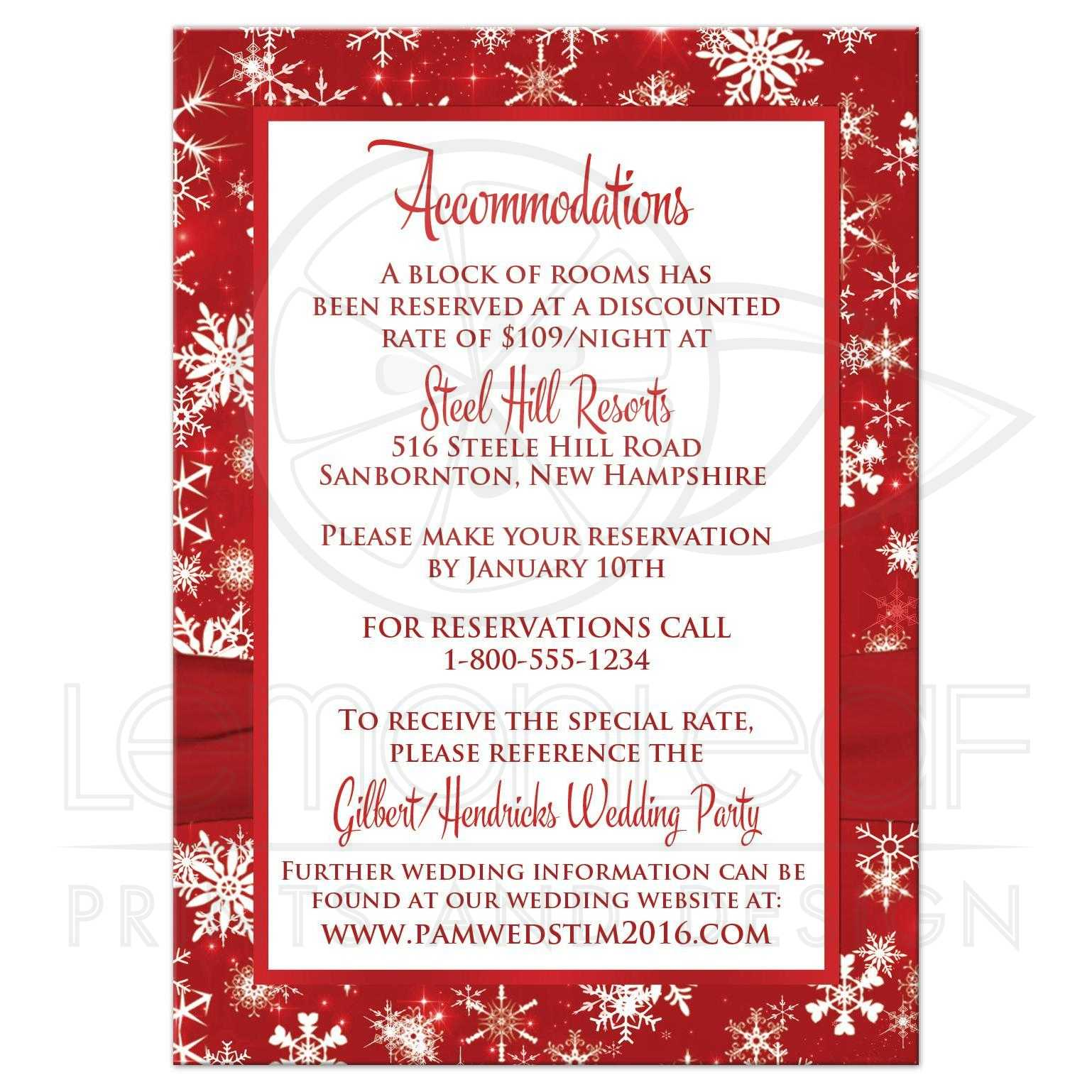 Winter Wedding Enclosure Card Red White Snowflakes Printed