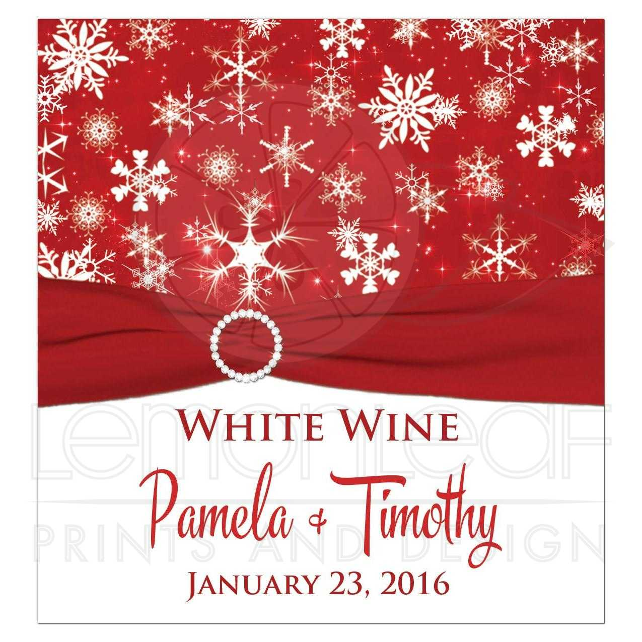 Personalized Winter Wedding Wine Bottle Label | Red, White ...