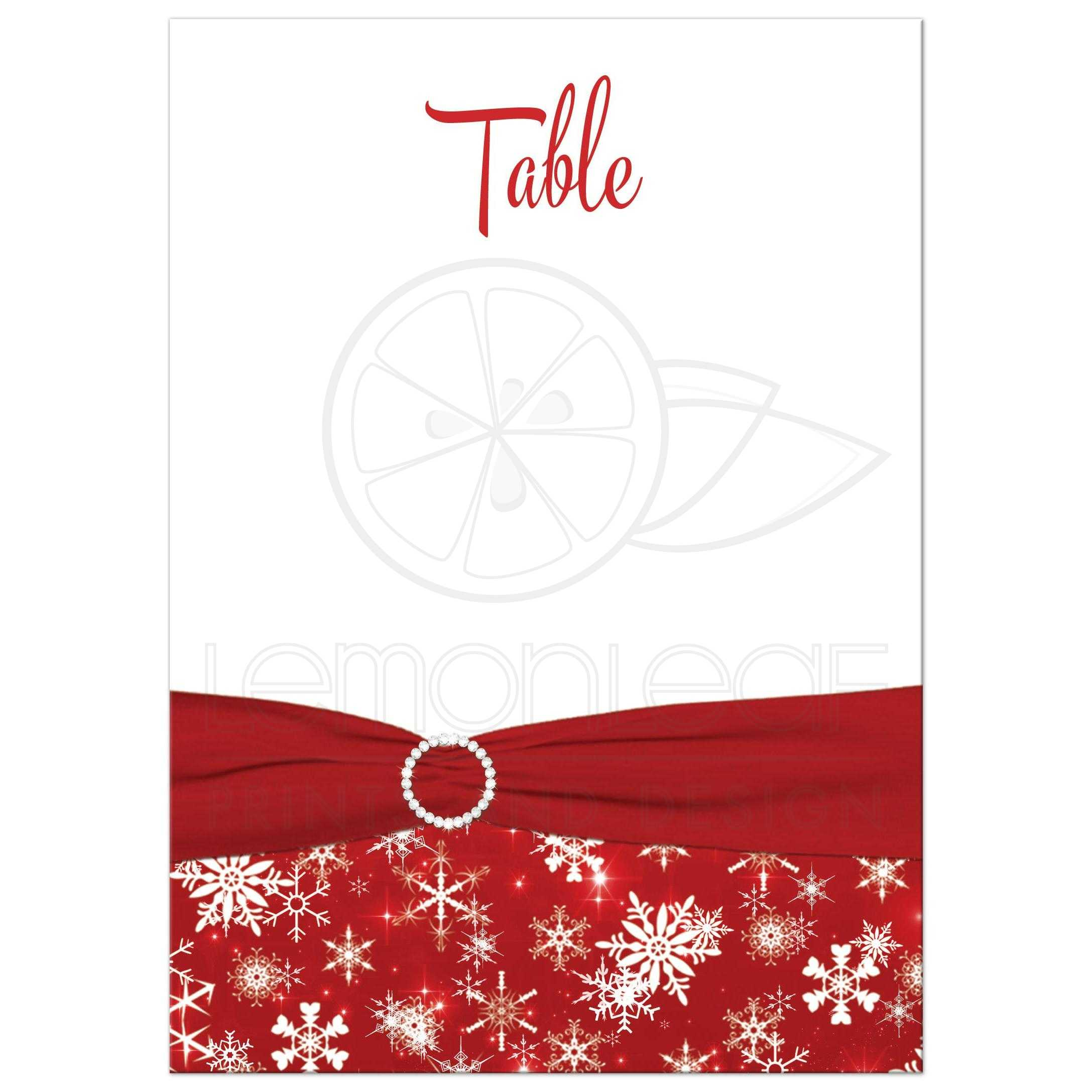 ADD YOUR OWN NUMBER DIY Table Number | Red, White Snowflakes |  Double-sided, Printed Ribbon, Diamond Buckle