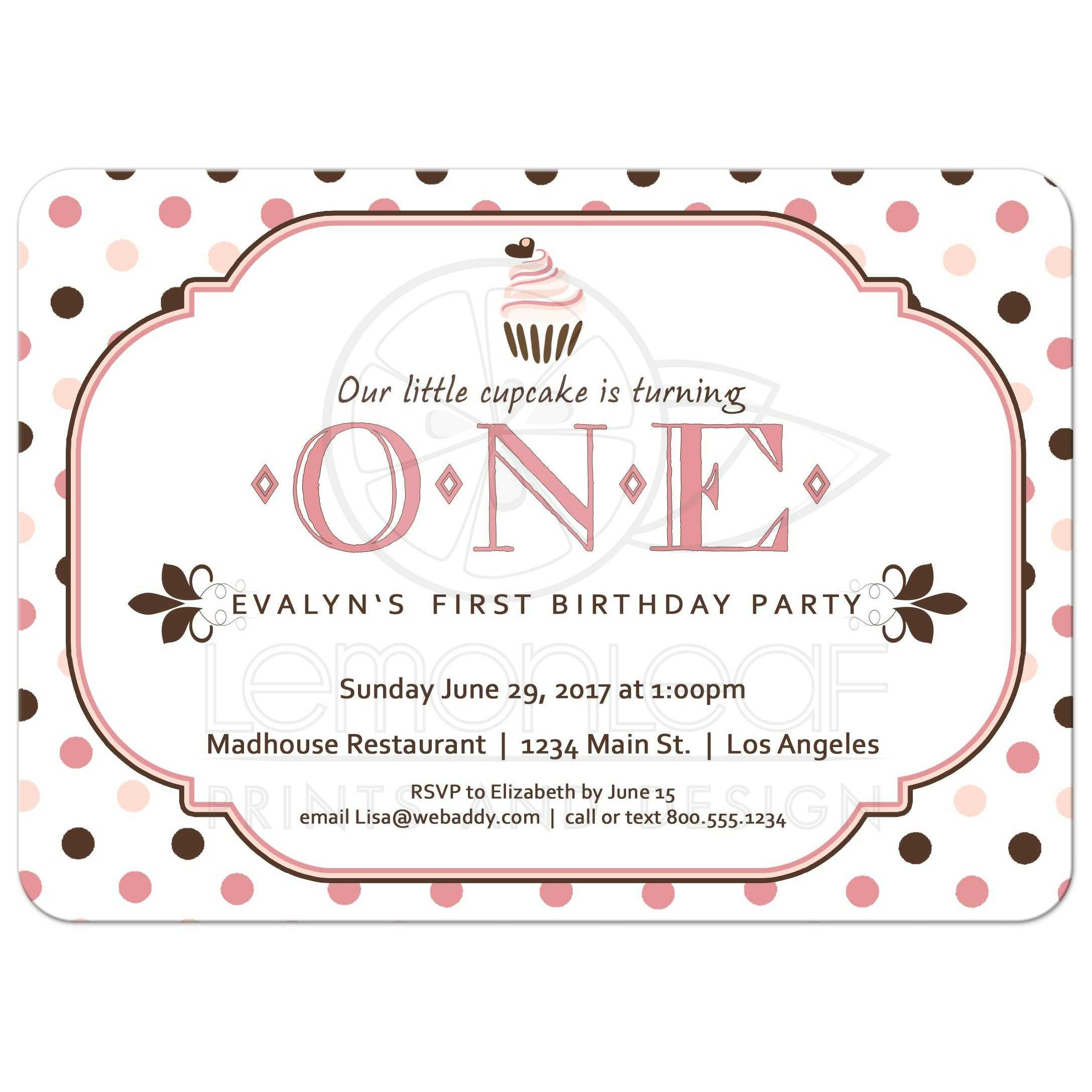 A Cupcake Themed 1st Birthday Party With Paisley And Polka: Pink And Brown Polka Dot Cupcake First Birthday Party