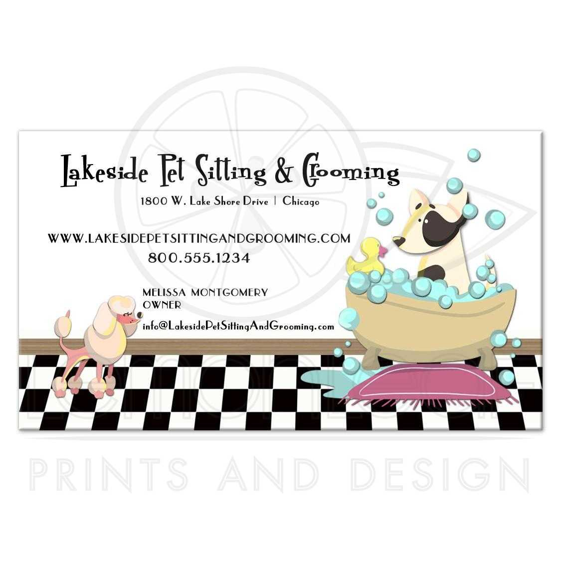 Poodle and Dog in Bathtub Grooming and Pet Sitting Business Card