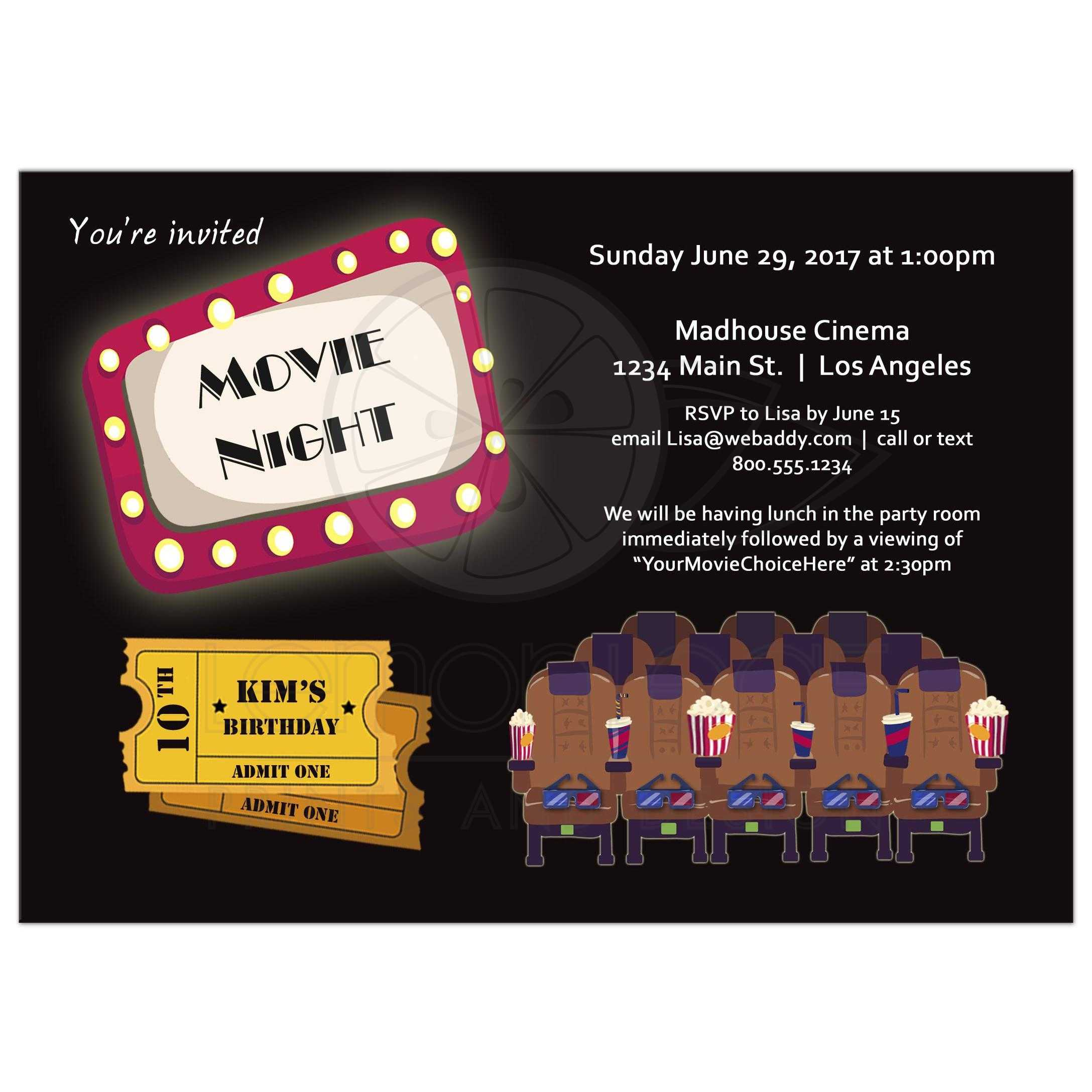 Movie Night Marquee Birthday Party Invitation