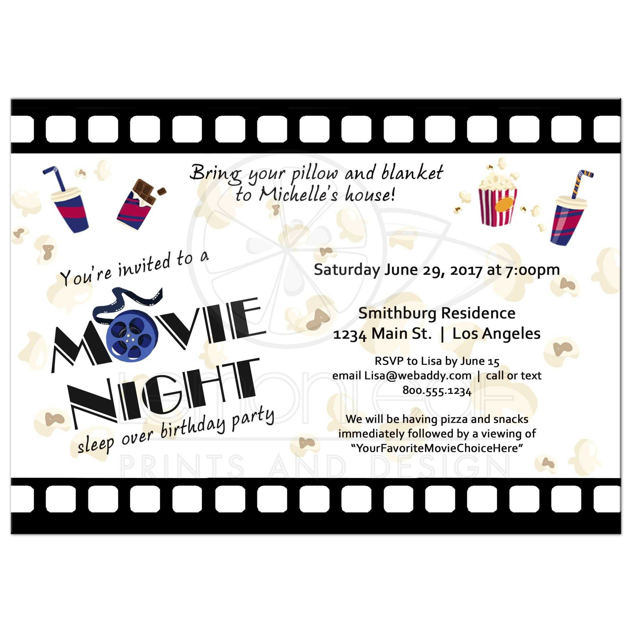 Movie Night Sleepover Birthday Party Invitation – Sleepover Birthday Party Invitations