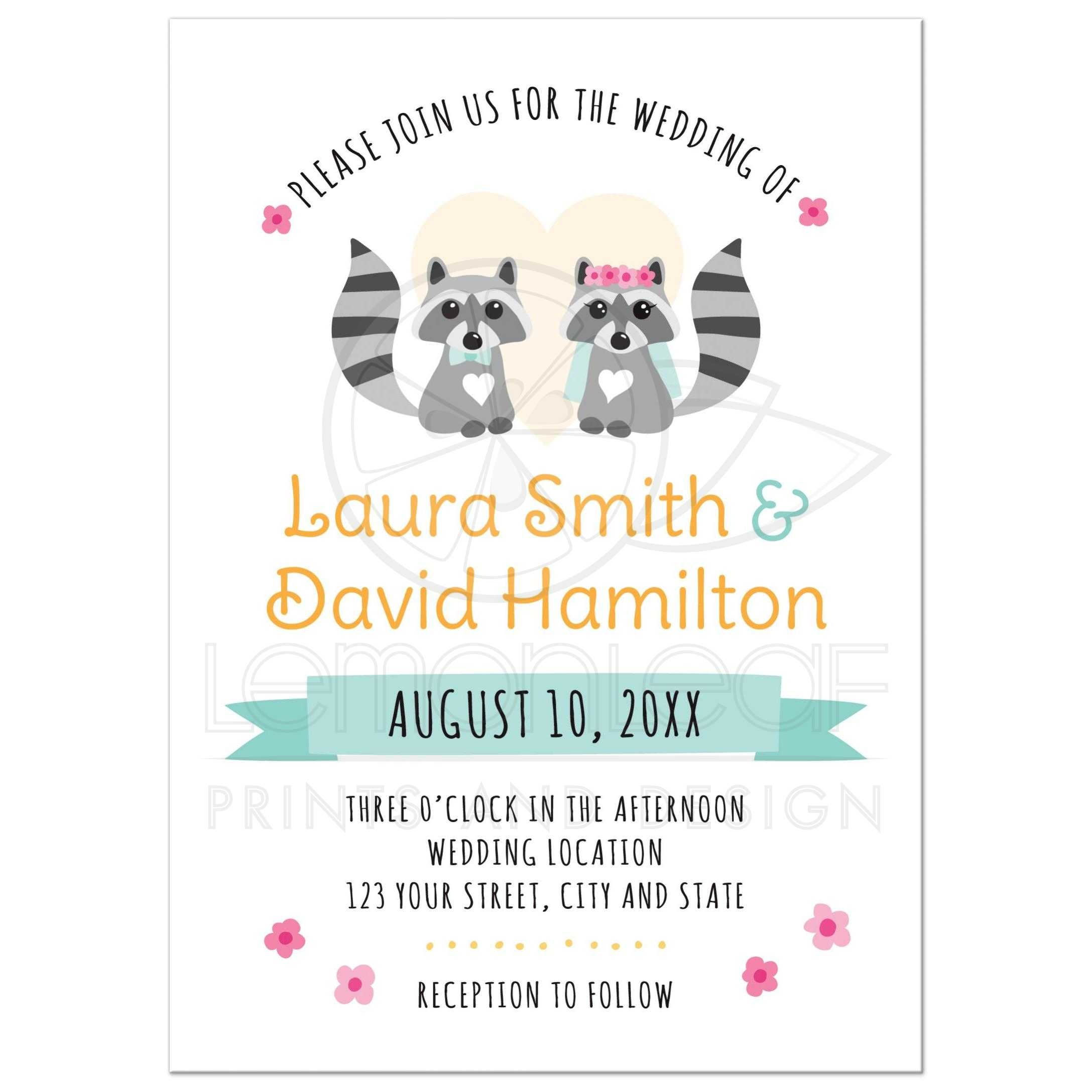 Cute raccoon bride and groom whimsical wedding invitation