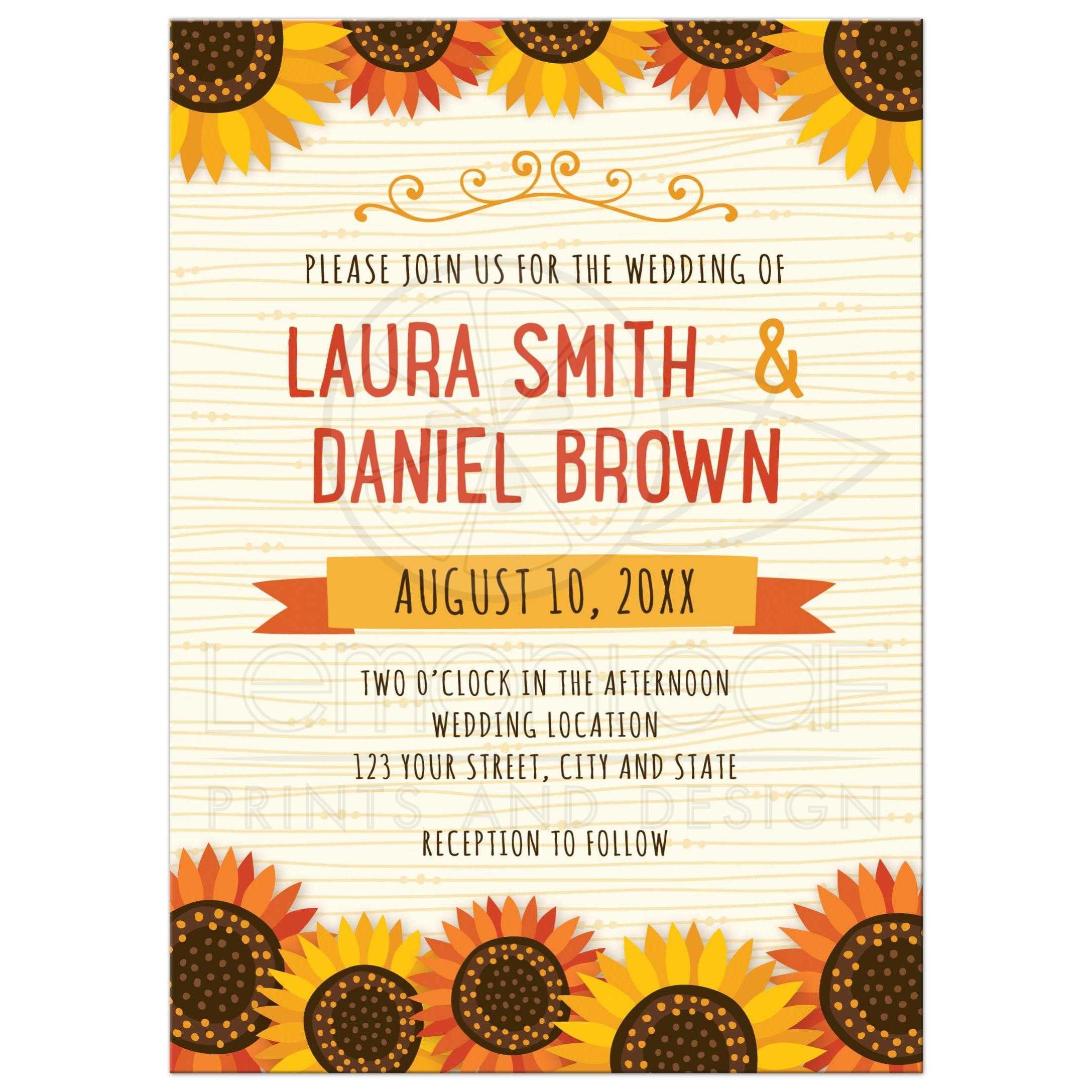 Whimsical sunflowers on wood illustration background – Sunflower Wedding Invite