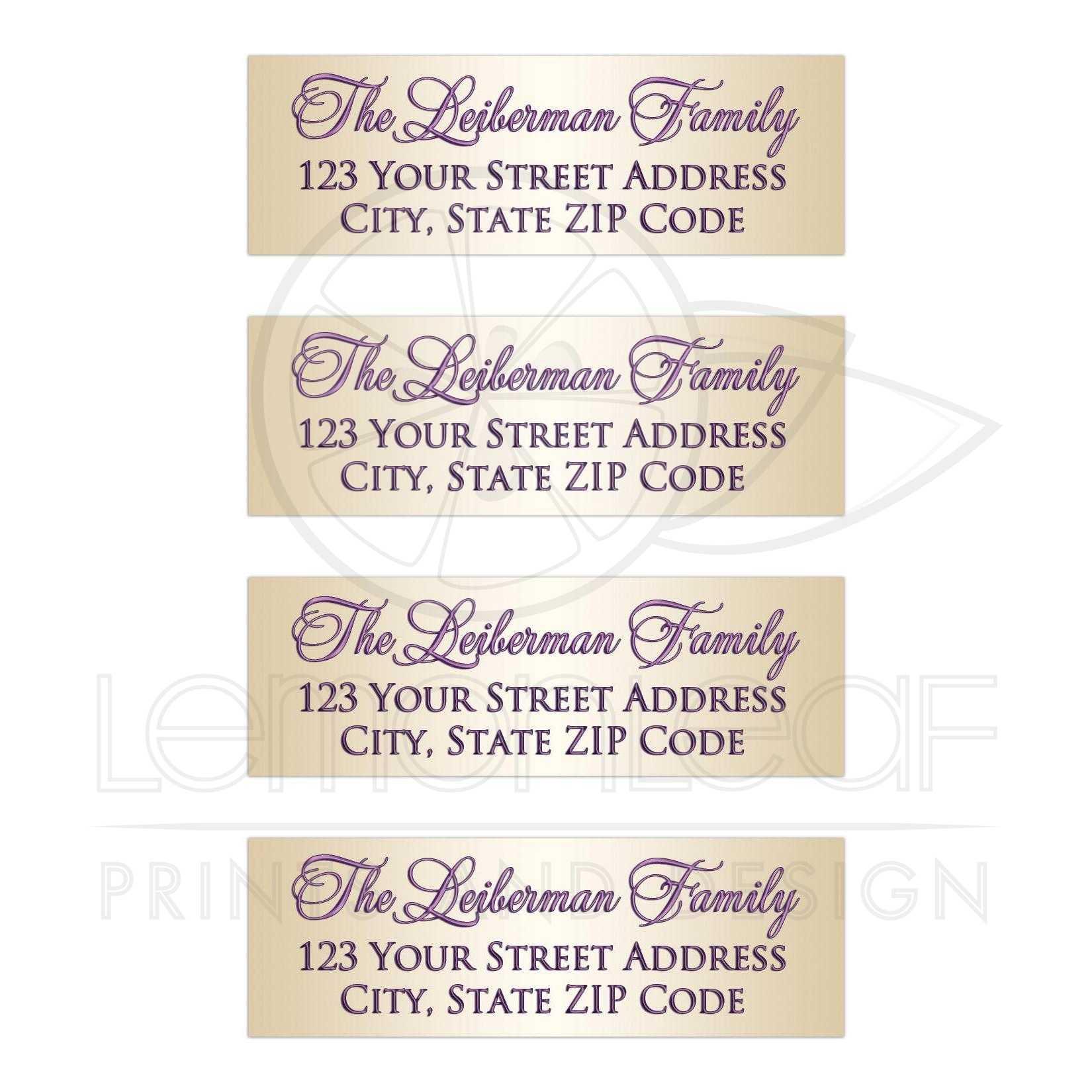 1 x3 bat mitzvah address labels 3 purple gold tone