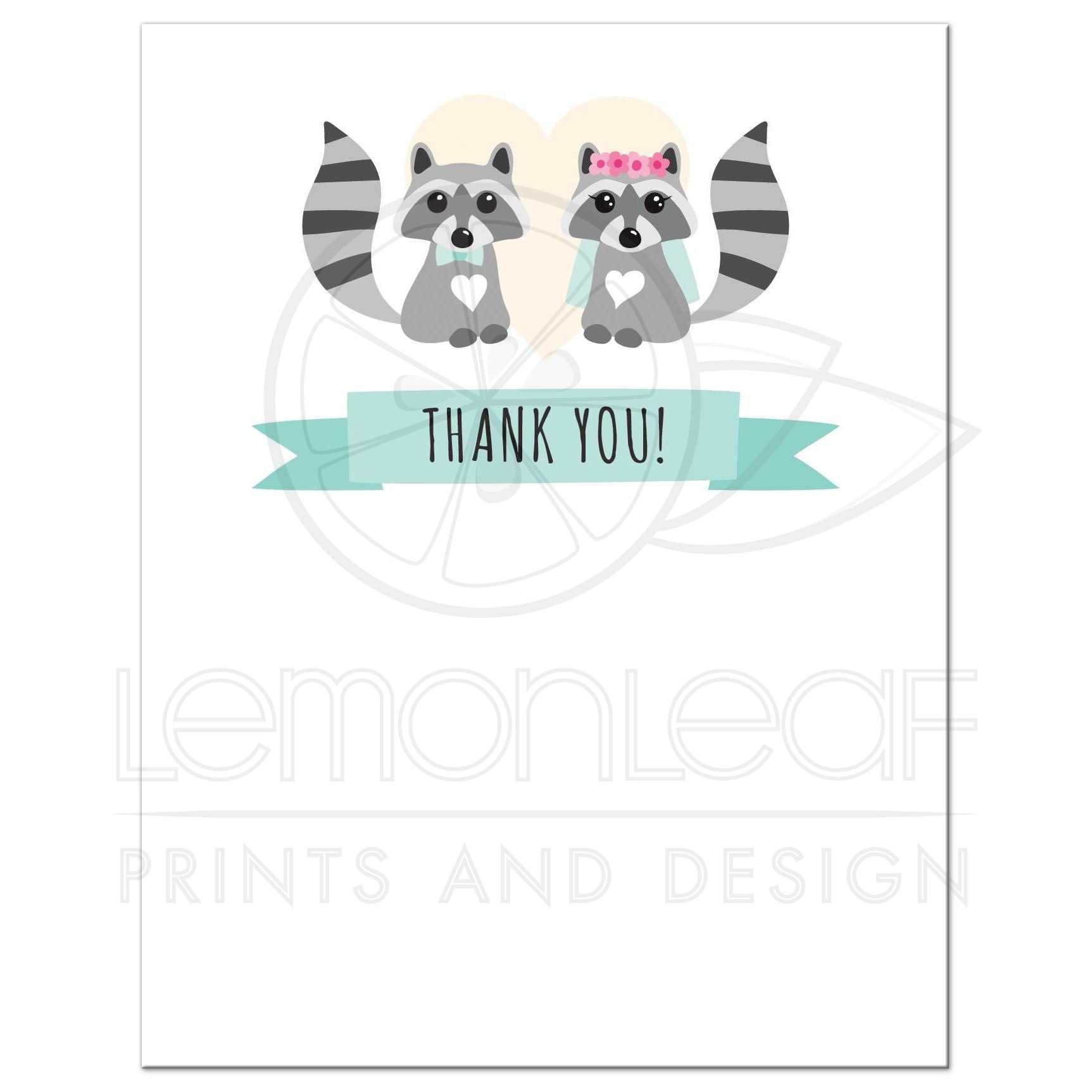 Cute Raccoon Bride And Groom Wedding Thank You Notecard