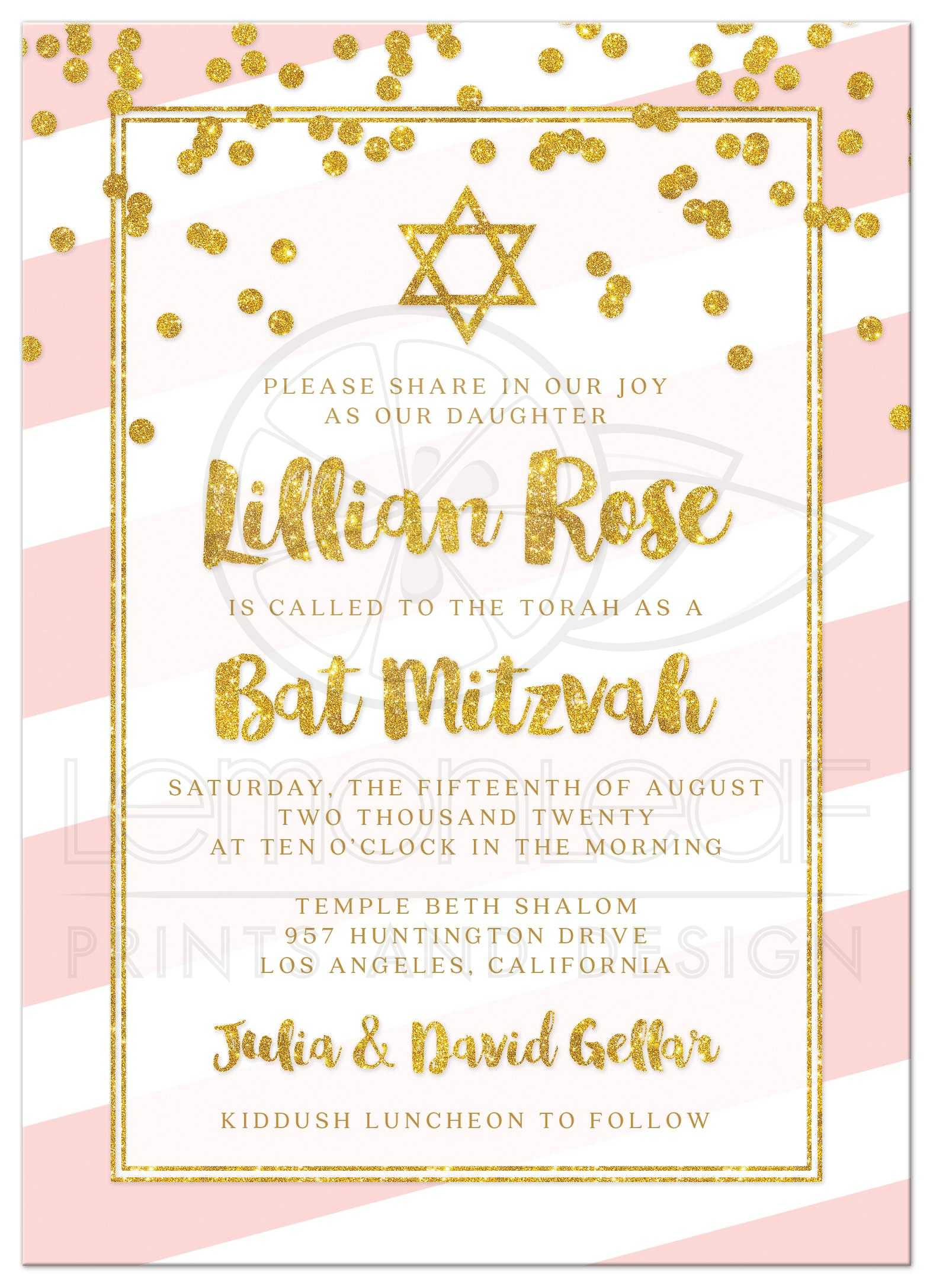bat mitzvah invitations pink stripes gold confetti