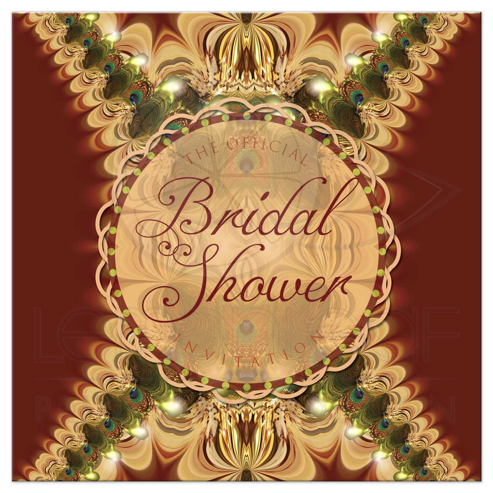 peacock lace bridal shower invitation