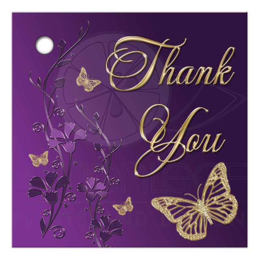 "2.5"" Sq. Bat Mitzvah Favor Tag - Thank You | Purple ..."