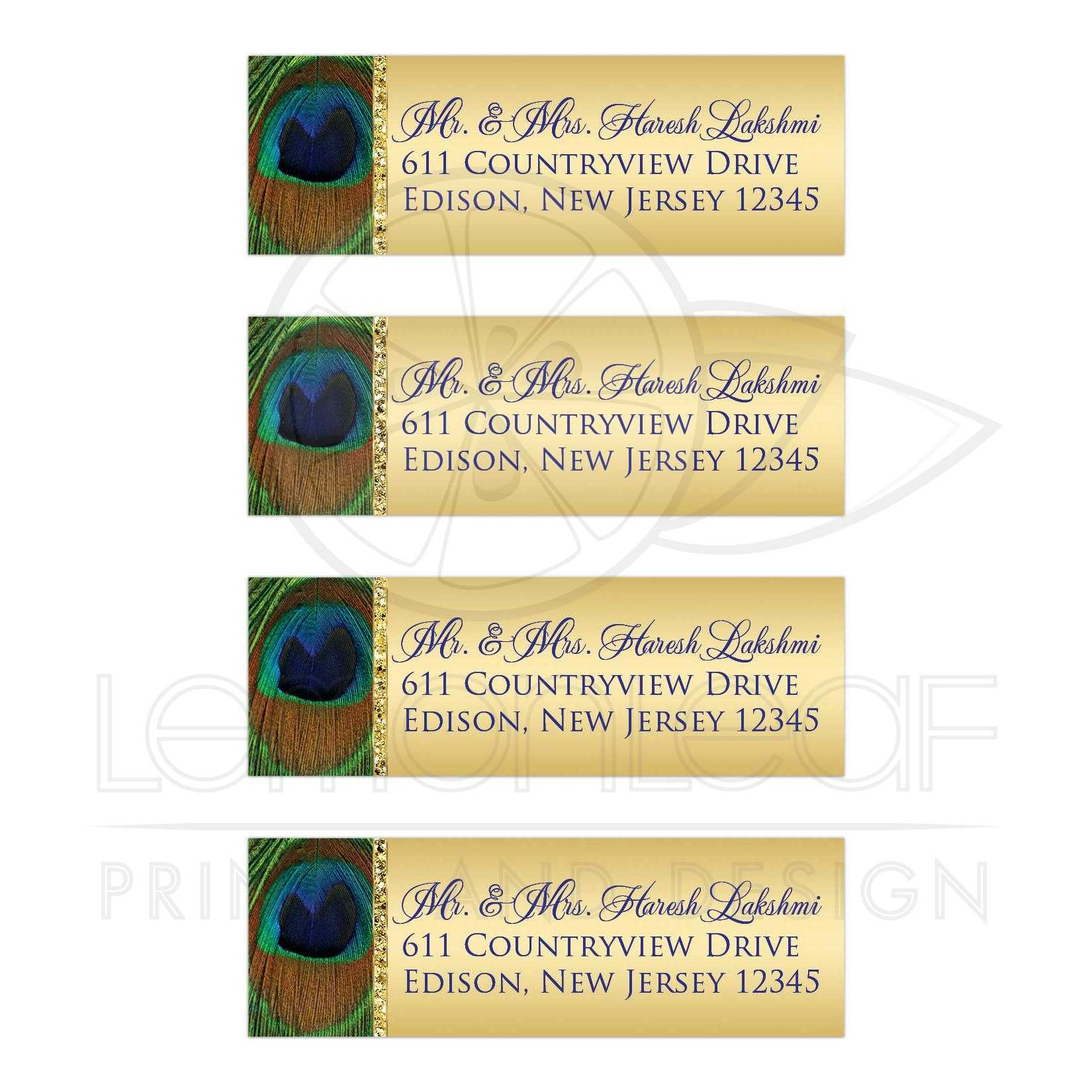 Best Personalized Blue And Gold Peacock Feather Return Address Mailing Labels