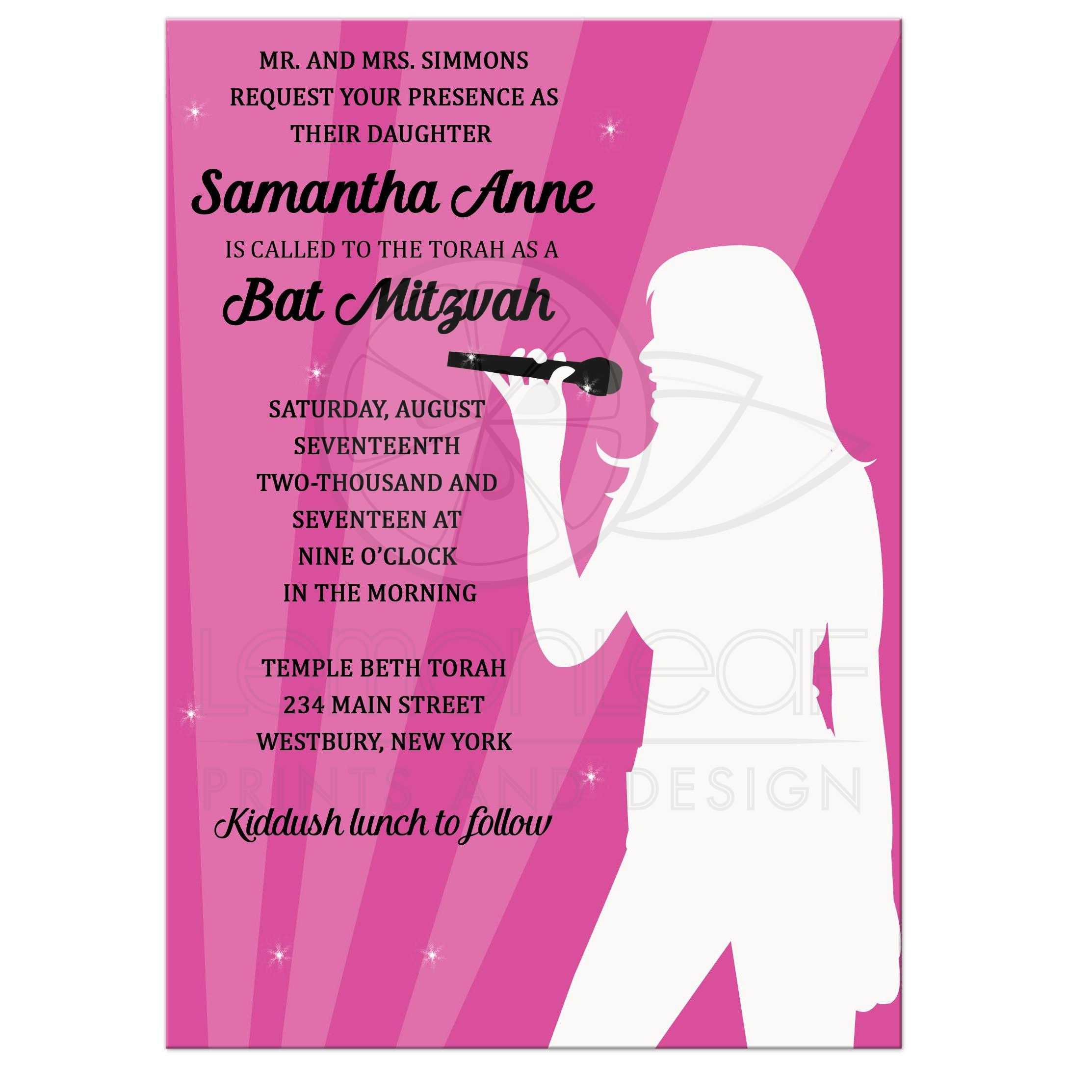 Singer Karaoke Dance Party Pink Bat Mitzvah Invitations