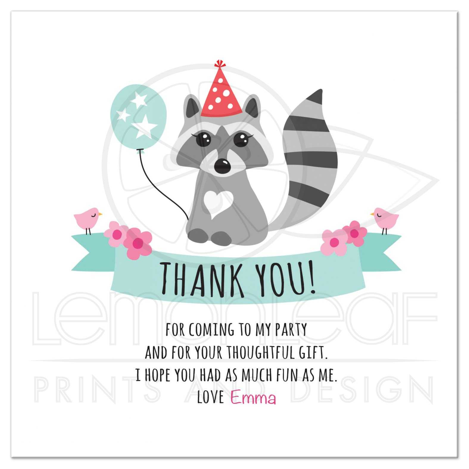 Cute raccoon with balloon and party hat, personalized text