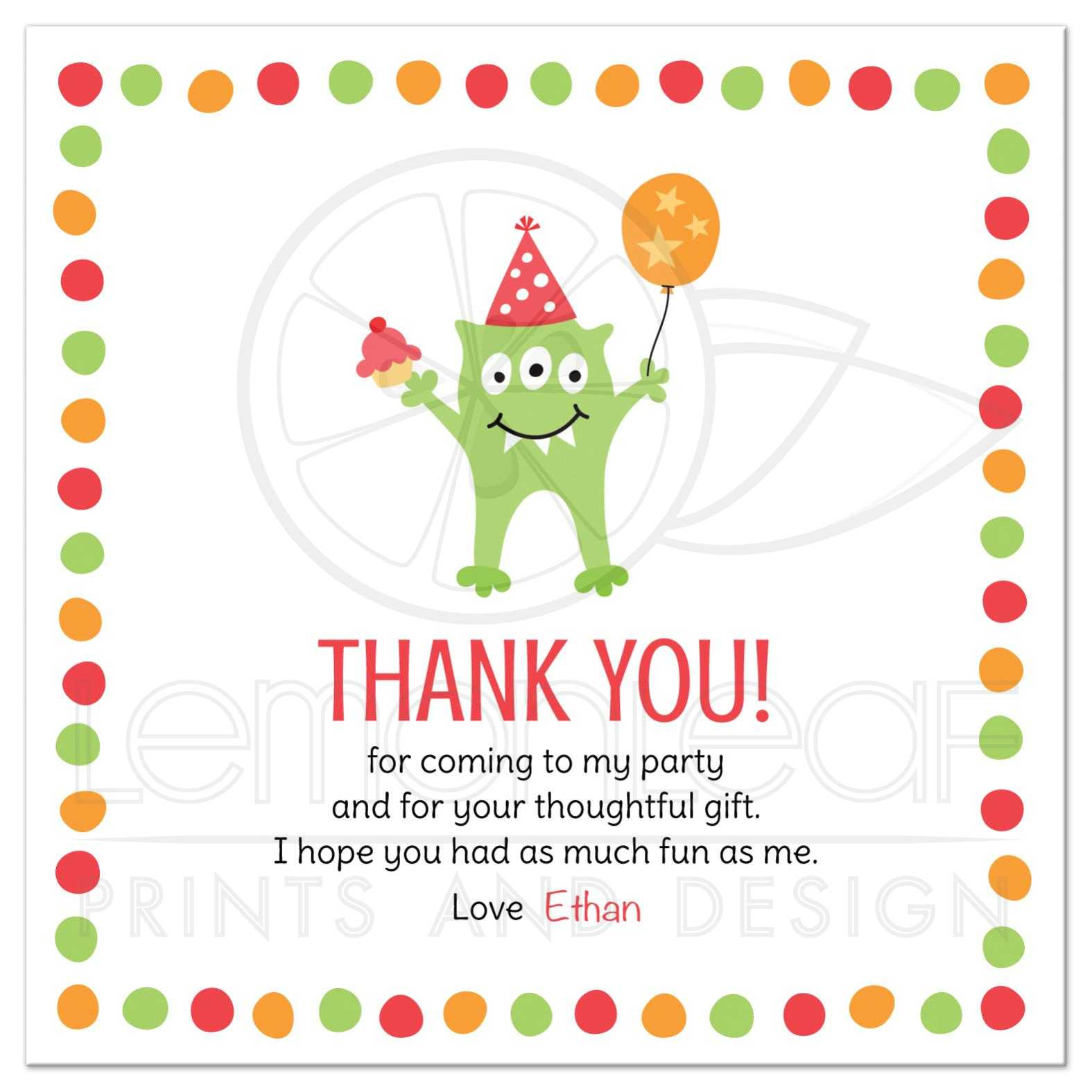Thank You Quotes For Baby Gift: Monster With Three Eyes, Balloon And Party Hat Birthday