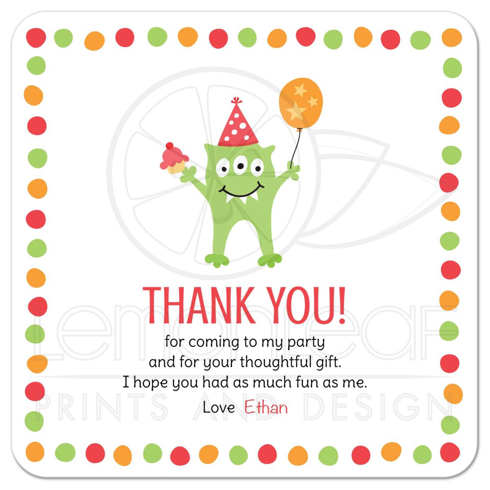 Monster With Three Eyes, Balloon And Party Hat Birthday Party Thank You Card With Personalized Text