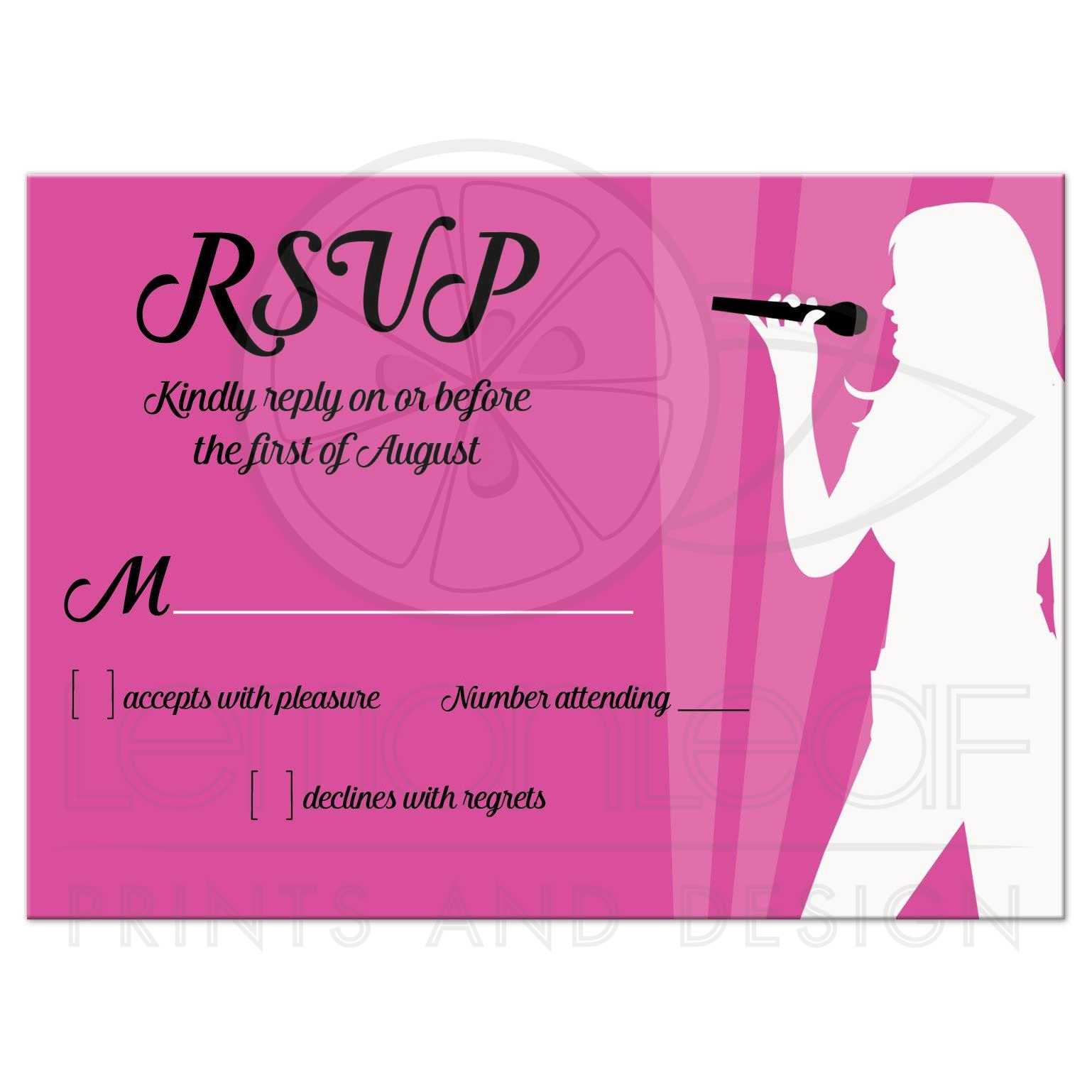 RSVP Enclosure Card | Singer Karaoke Dance Party Bat Mitzvah or ...