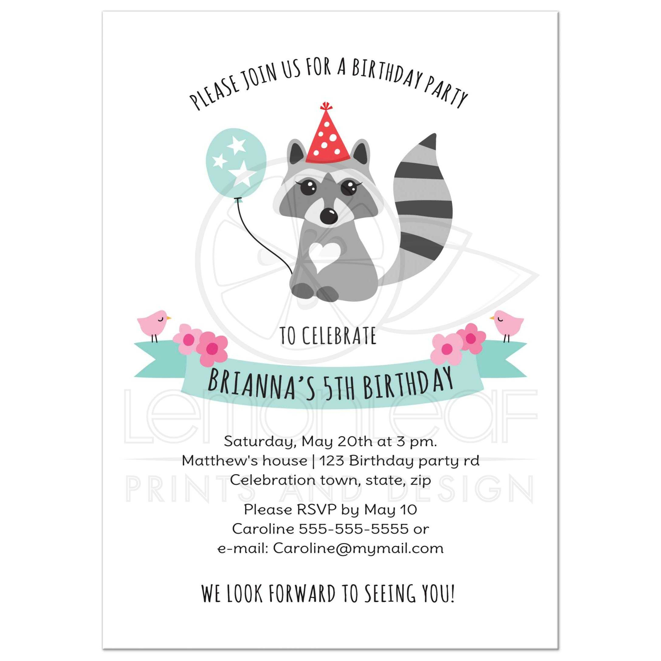 cute raccoon with balloon and party hat birthday invitation for kids