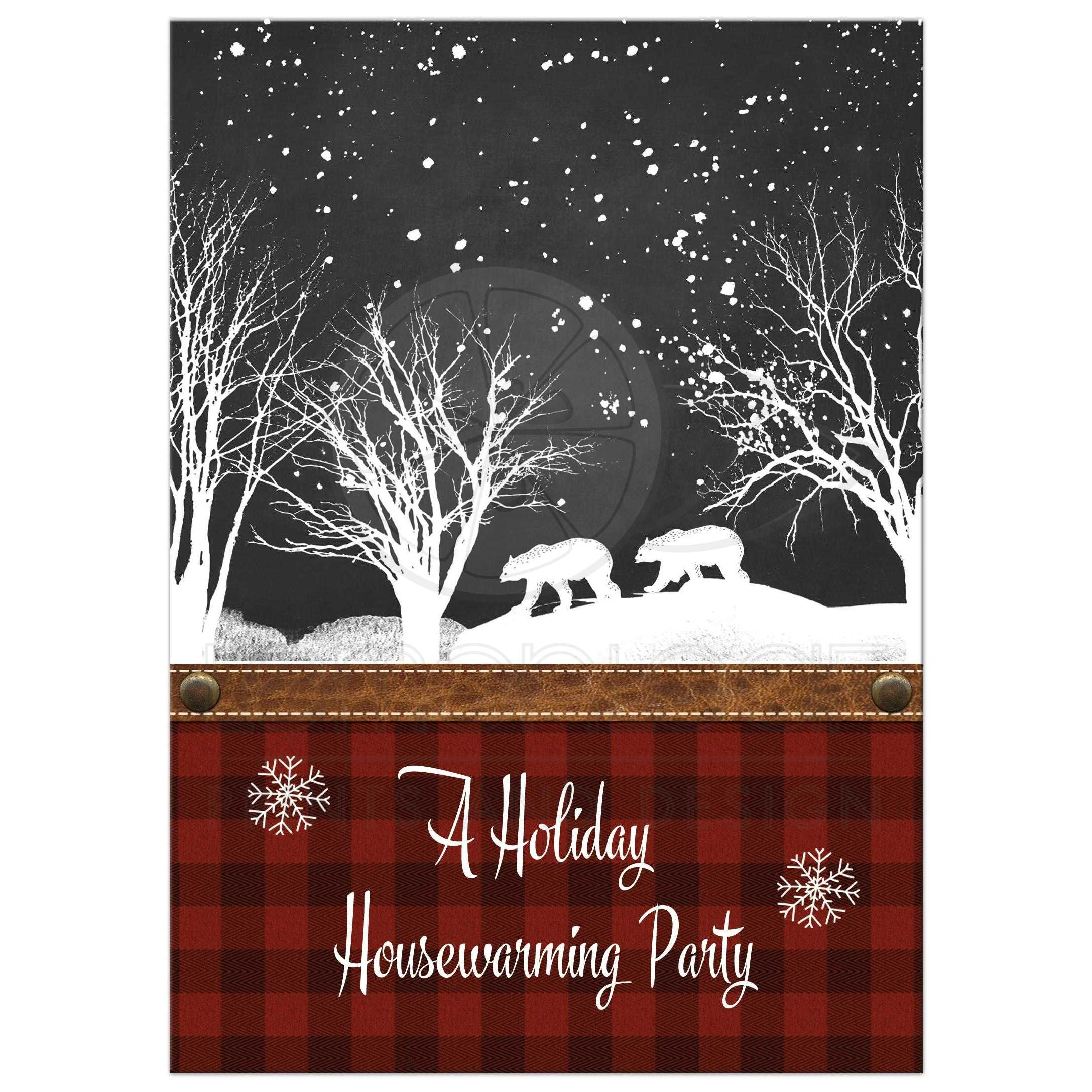 Best Rustic Housewarming Woodland Wedding Invitation With Red And Black Plaid Chalkboard Snowflakes
