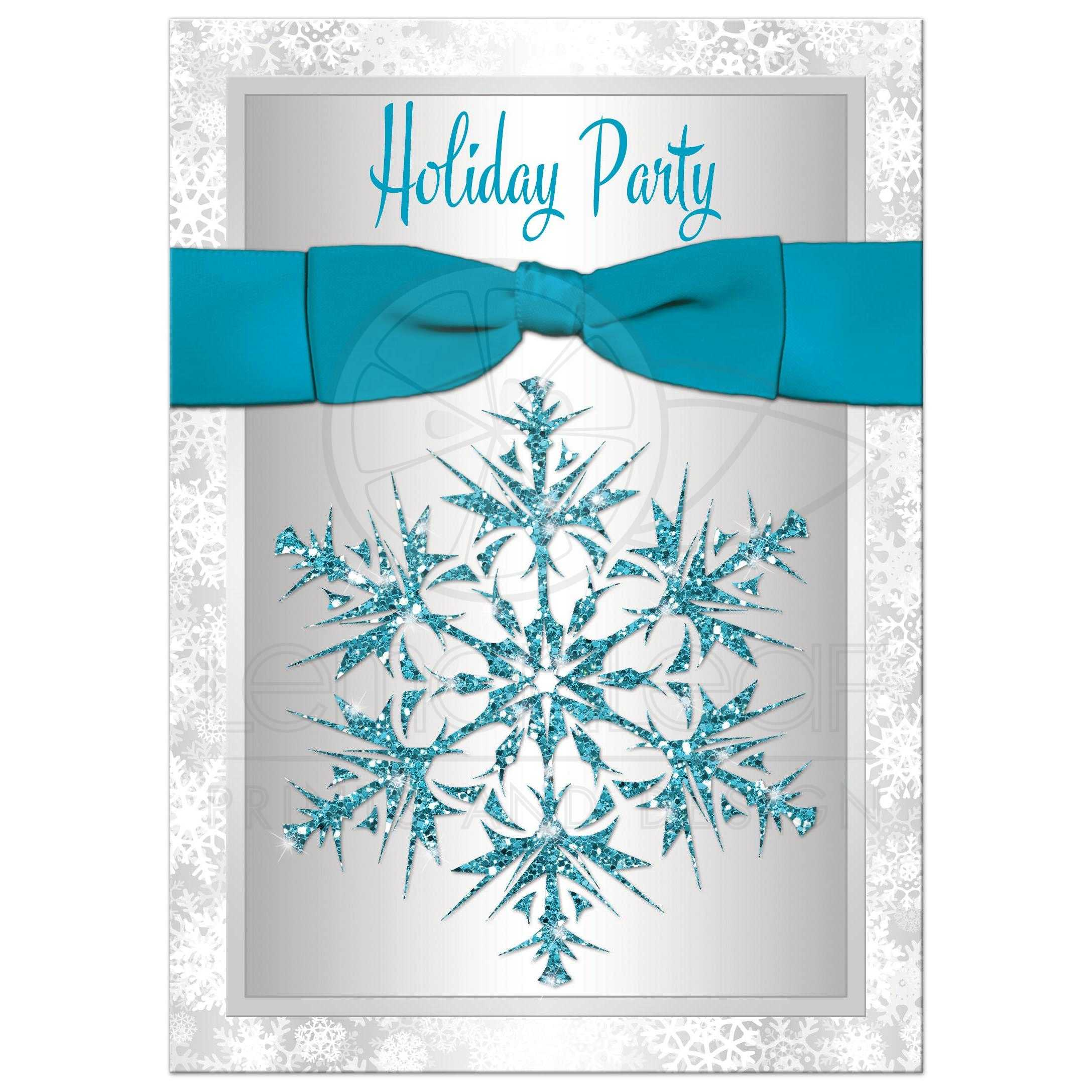 holiday party invitation turquoise gray white simulated best silver and white snowflakes winter holiday corporate fundraiser or christmas party invitation