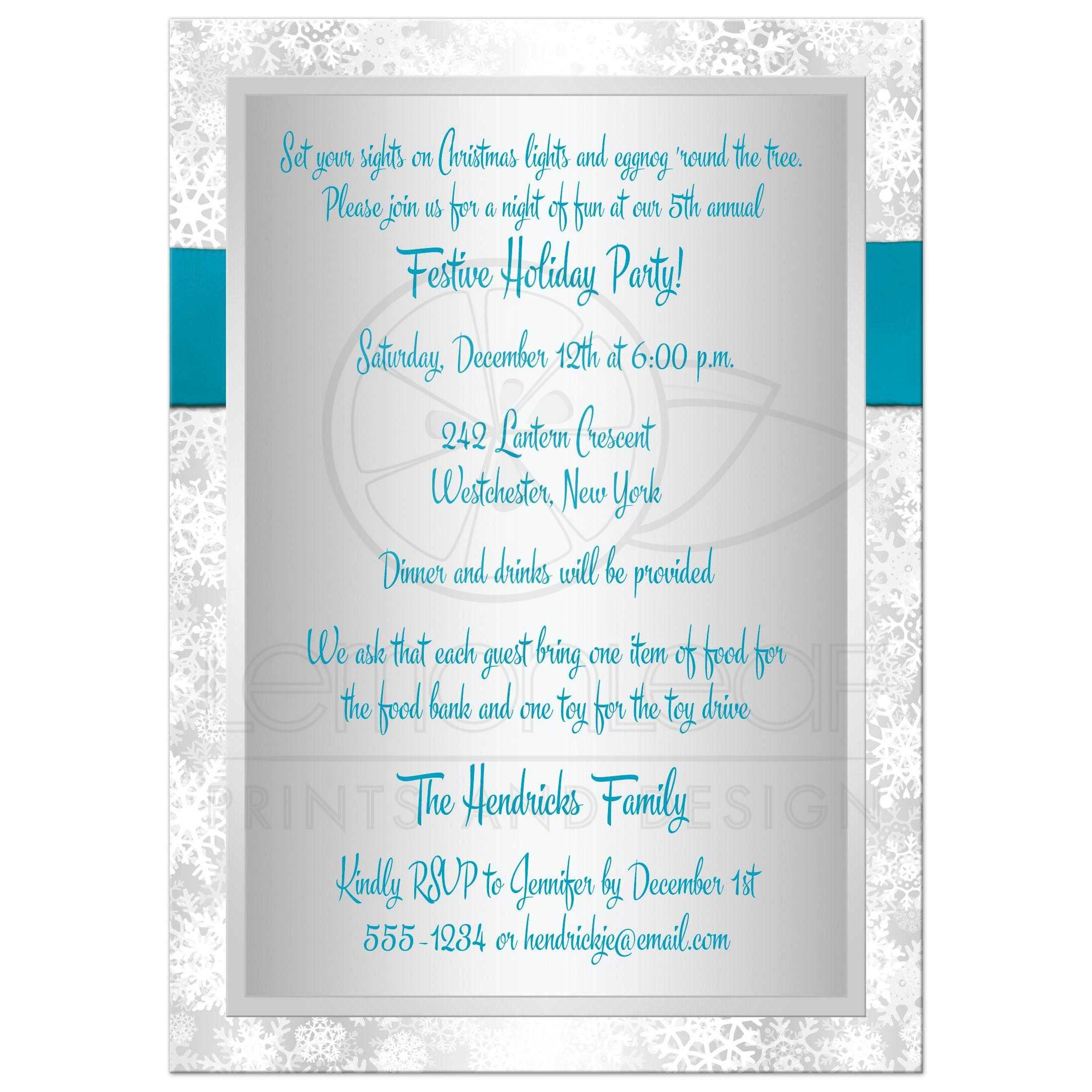 holiday party invitation turquoise gray white simulated great silver and white snowflakes winter holiday corporate fundraiser or christmas party invitation