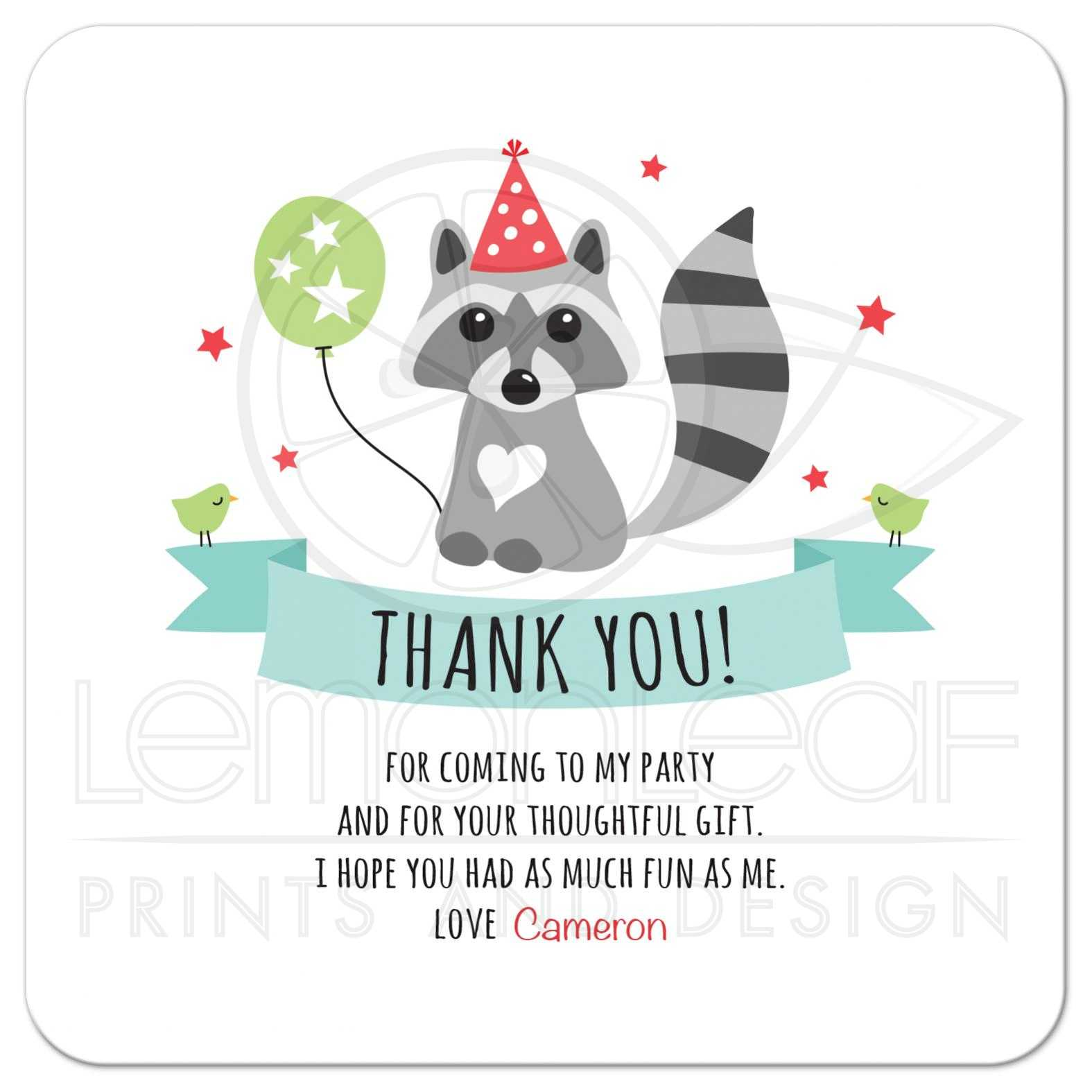 Raccoon with party hat and green balloon flat birthday thank you – Personalized Birthday Thank You Cards
