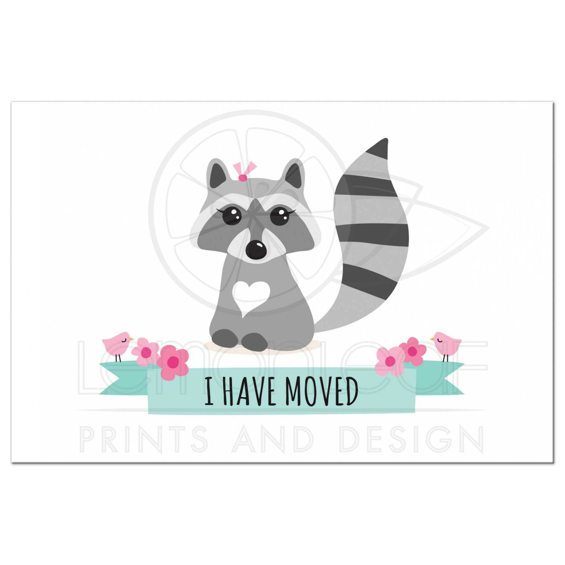 cute  u0026quot i have moved u0026quot  new address postcard with raccoon and