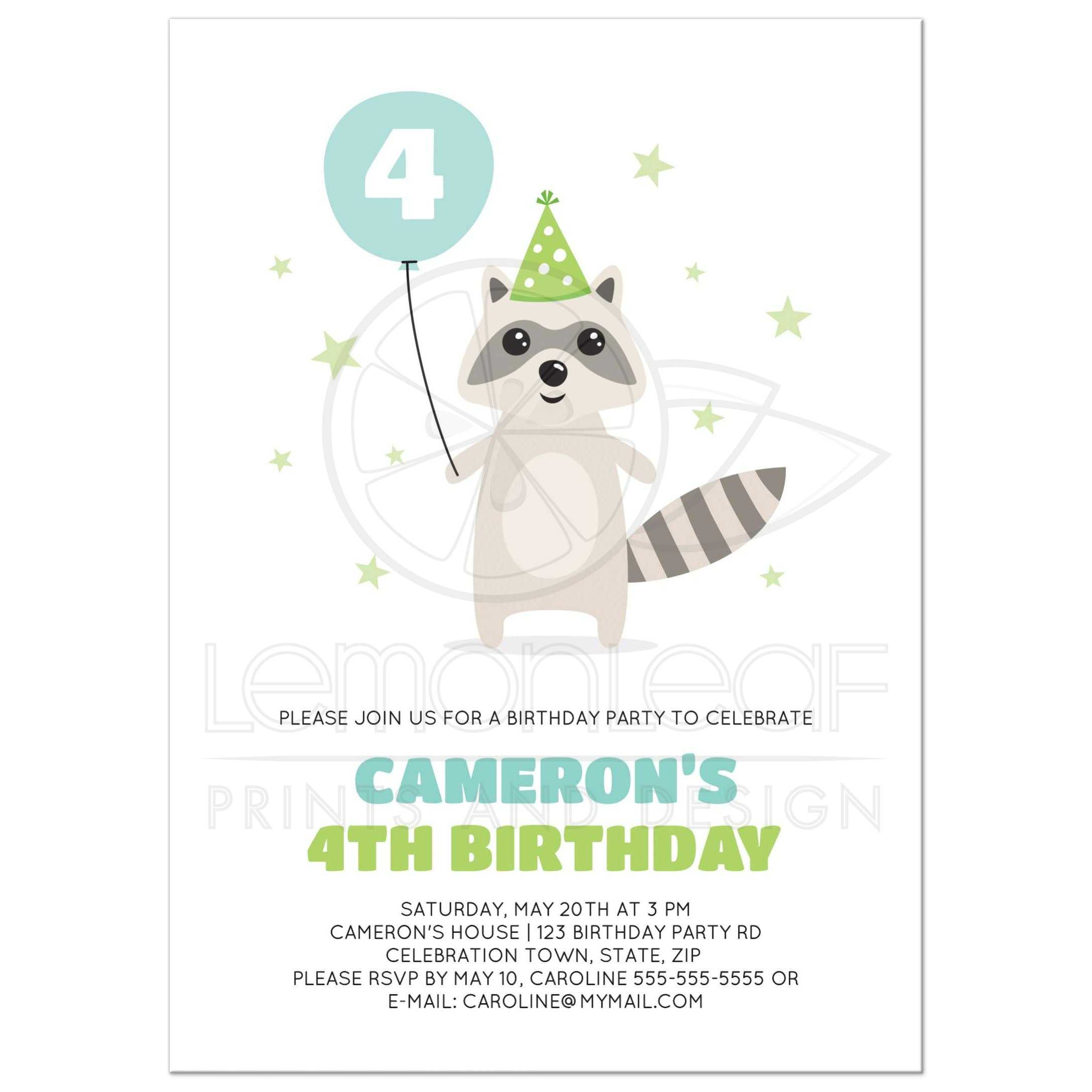 raccoon with stars and balloon with custom age birthday party