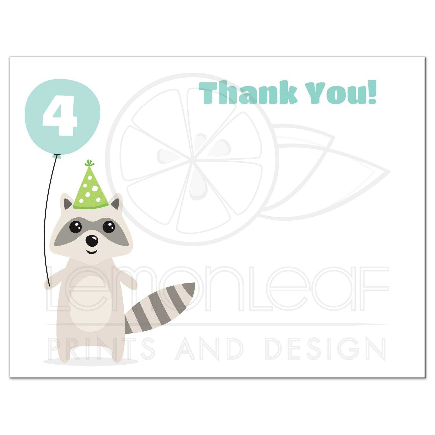 Cute raccoon with balloon birthday thank you card with custom age