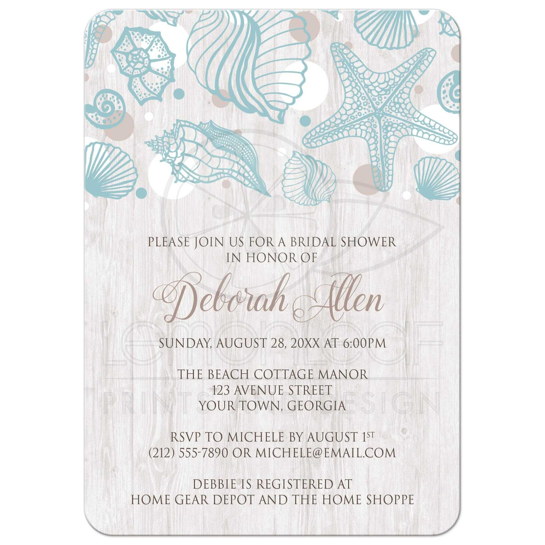 bridal shower invitations seashell whitewashed wood beach