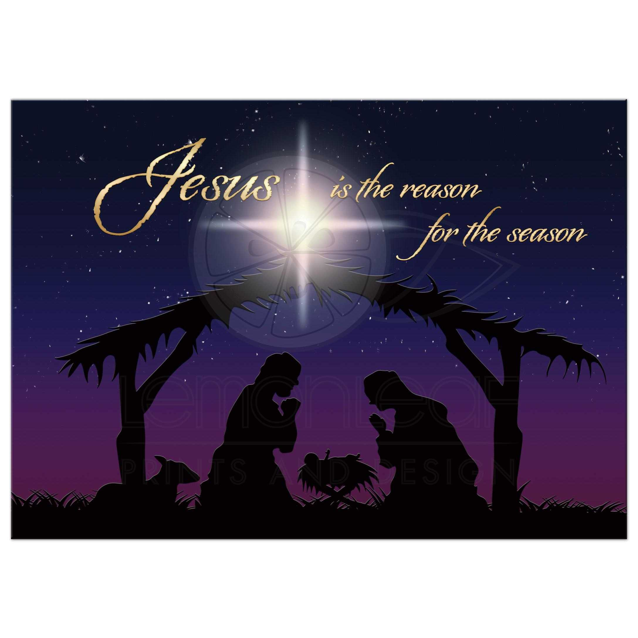 5x7 flat nativity christmas card jesus is the reason for the season