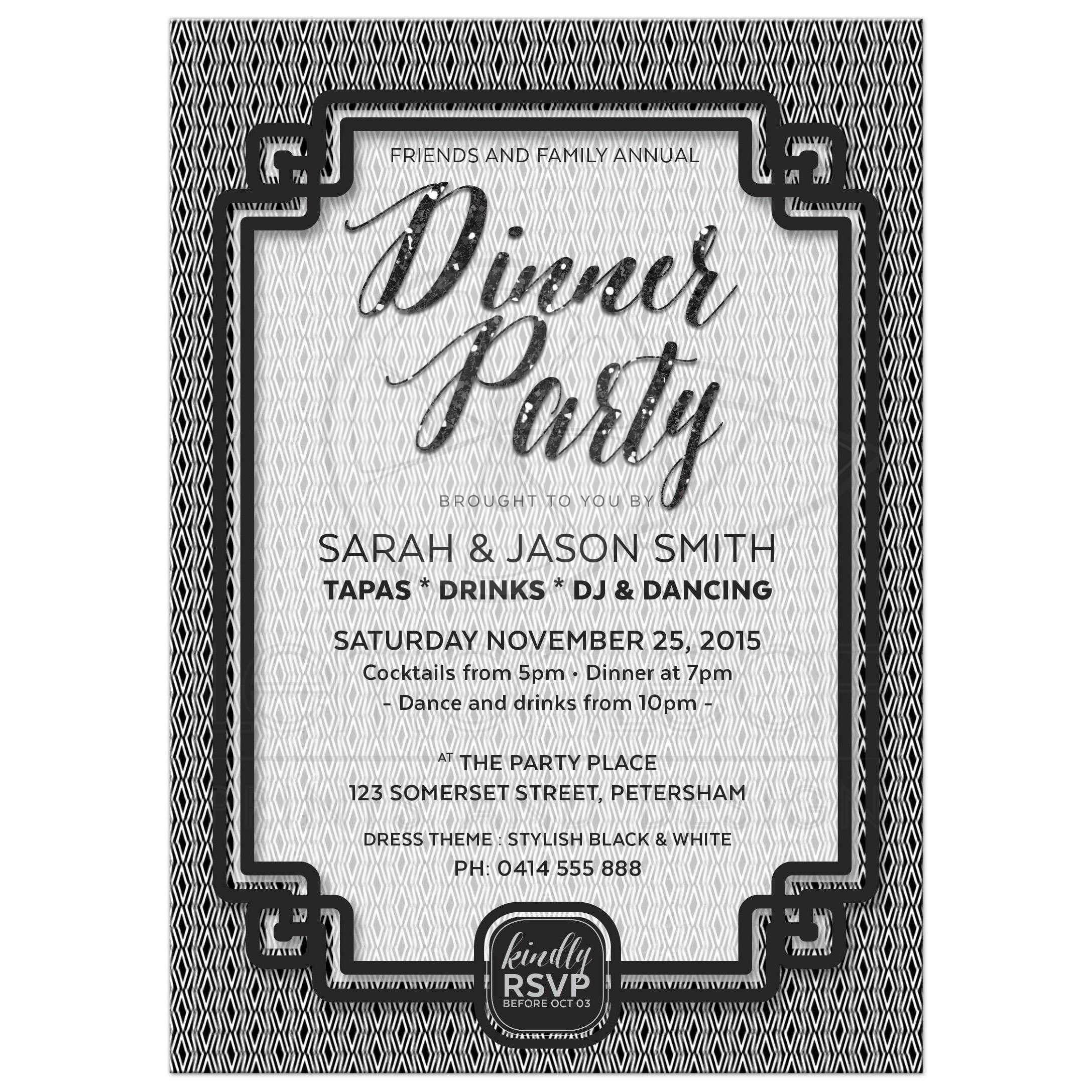 Black and White Dinner Party Invitation Simply Stylish 01