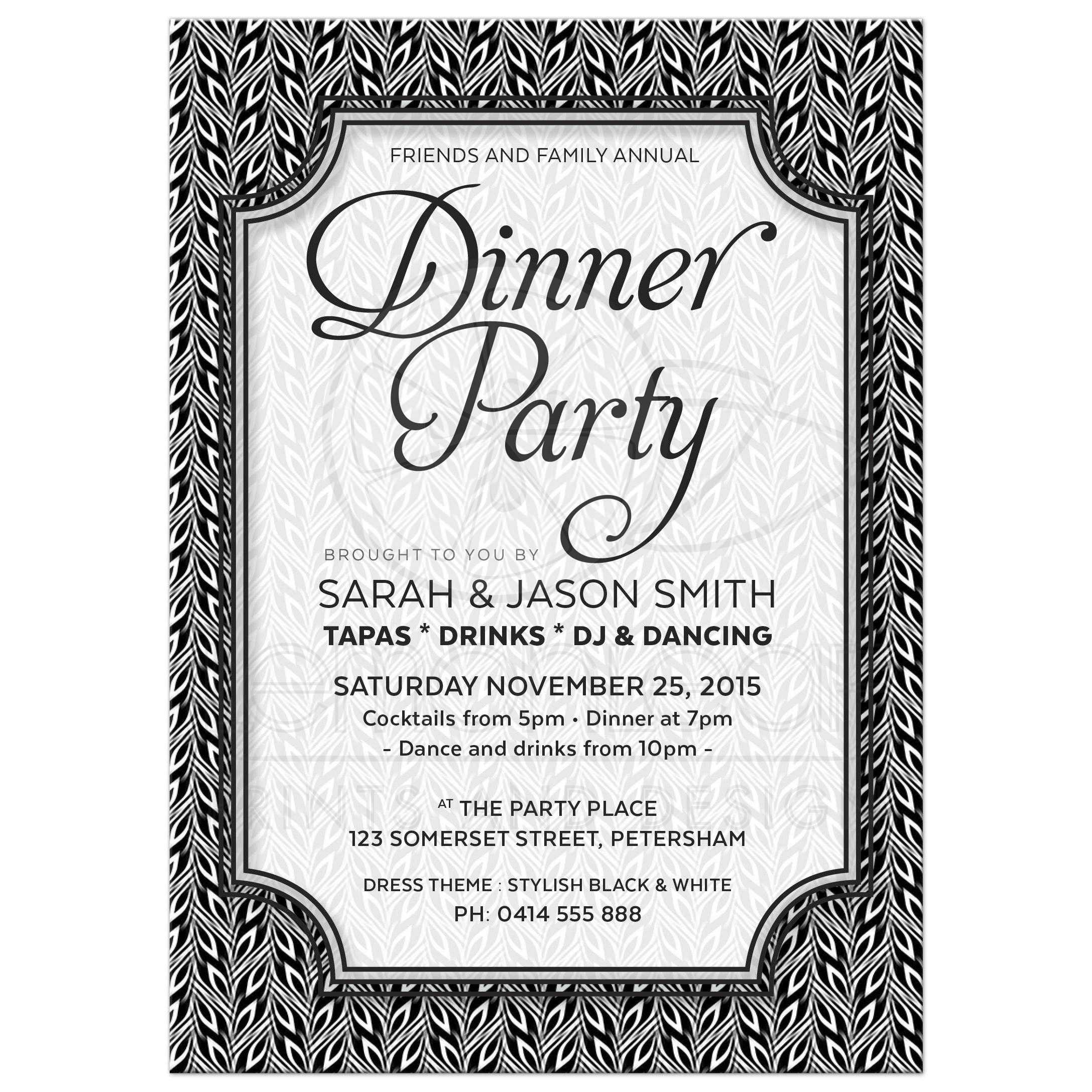 Black and White Dinner Party Invitation | Simply Stylish 02