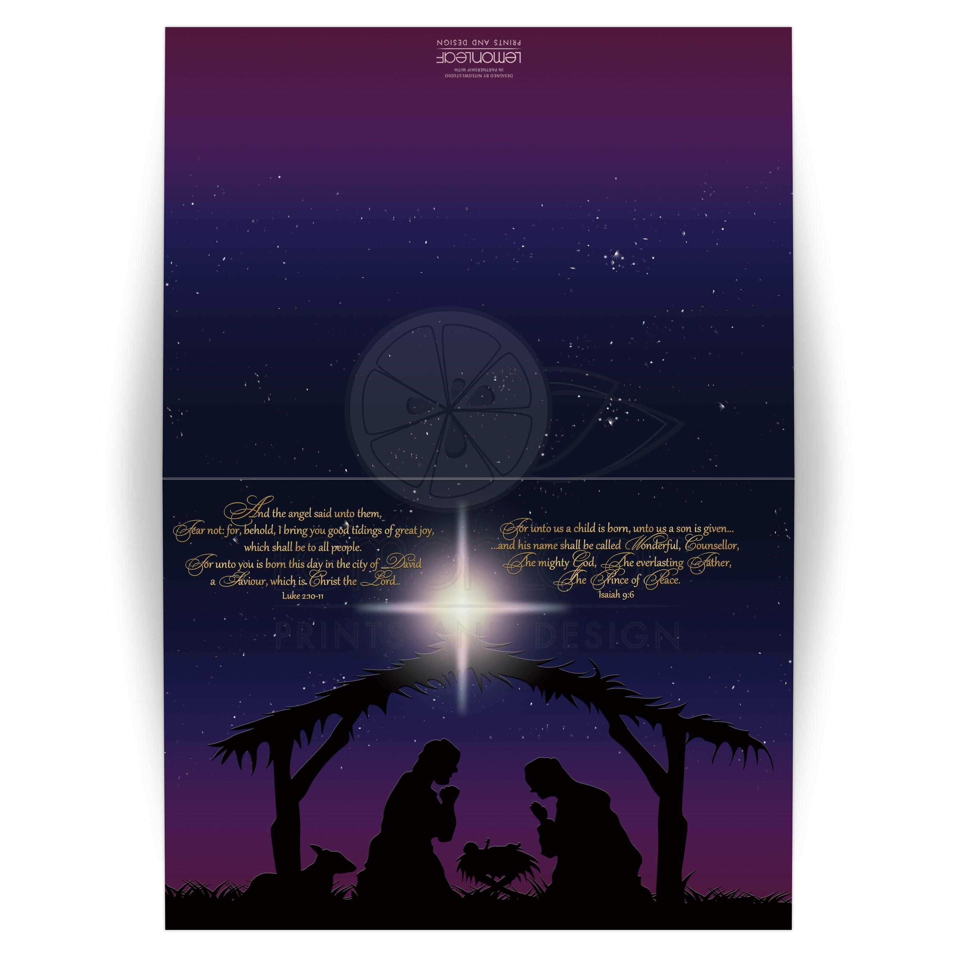 great beautiful holy night nativity scene christmas card with star of bethlehem and gold bible scriptures - Christmas Card Scripture