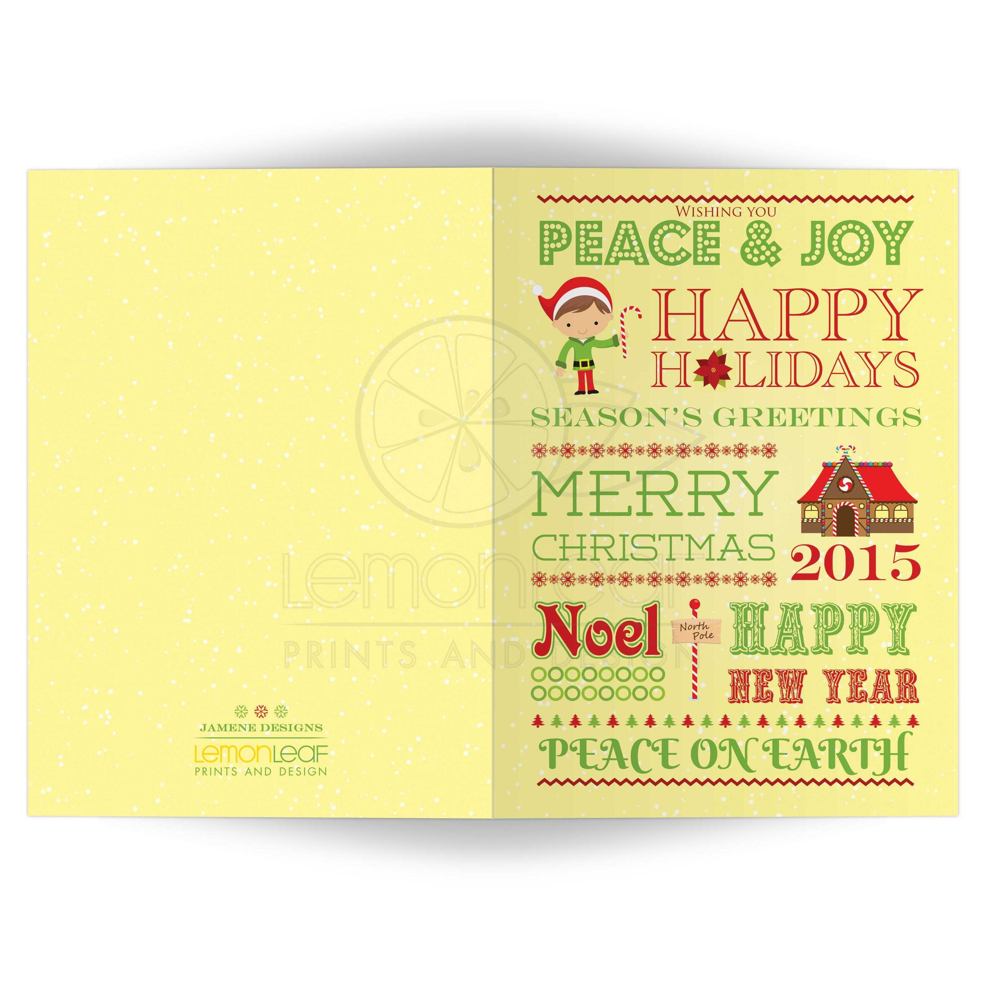 Christmas Holiday Card Festive Typography General Sayings