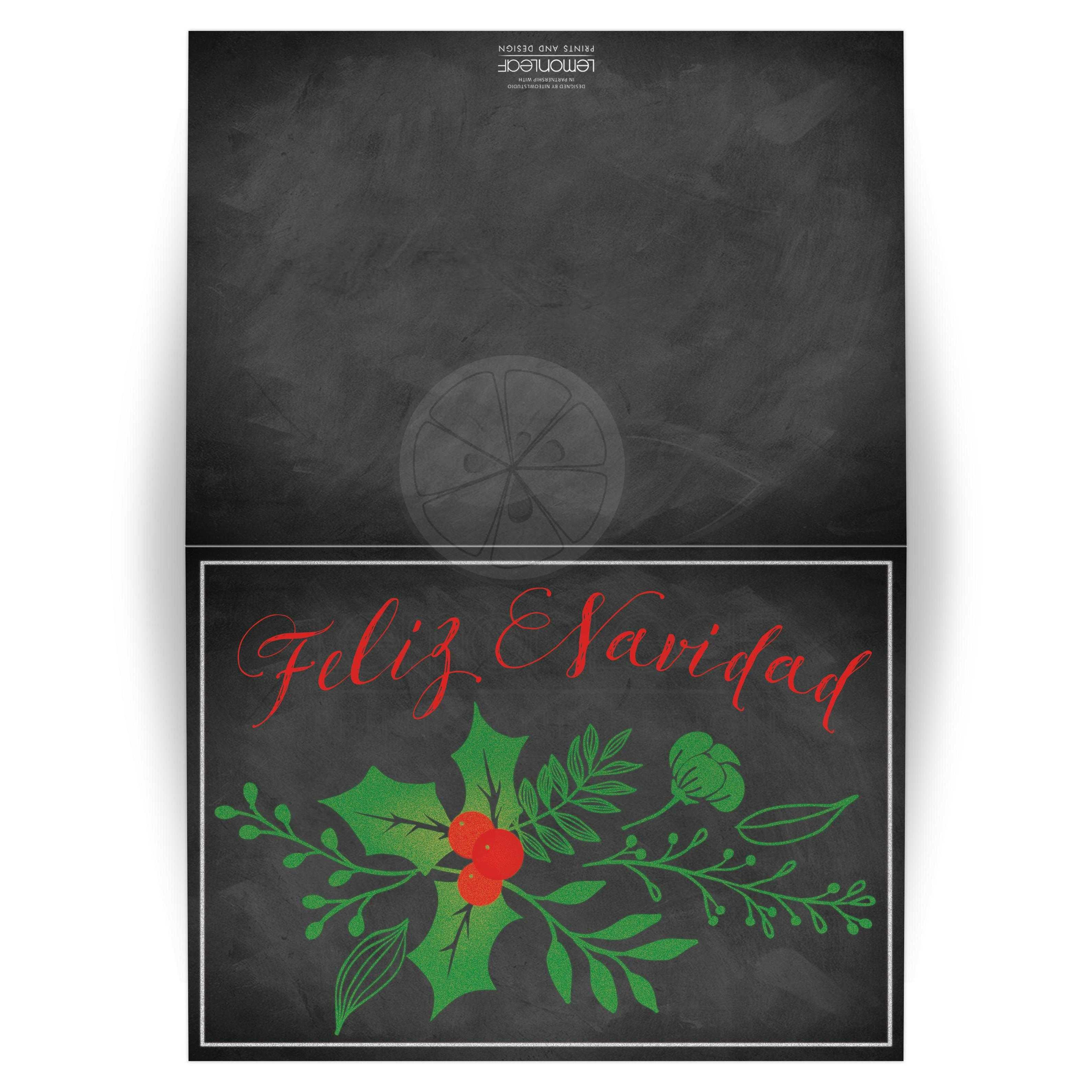 5x7 Spanish Feliz Navidad Card | Faux Chalkboard, Holly and Berries
