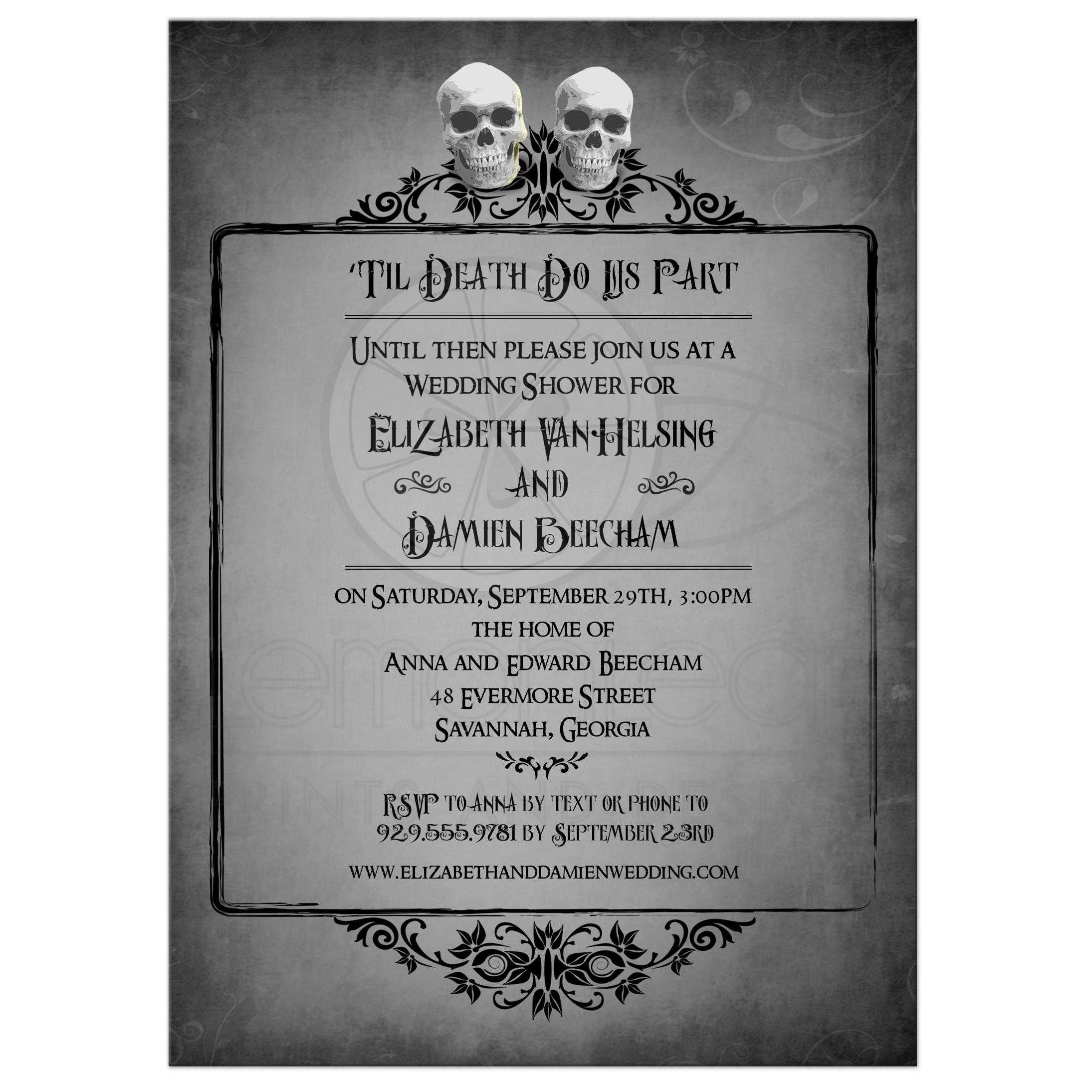 Bridal Wedding Shower Invitation - Two Skulls Eerie Grey Frame Halloween