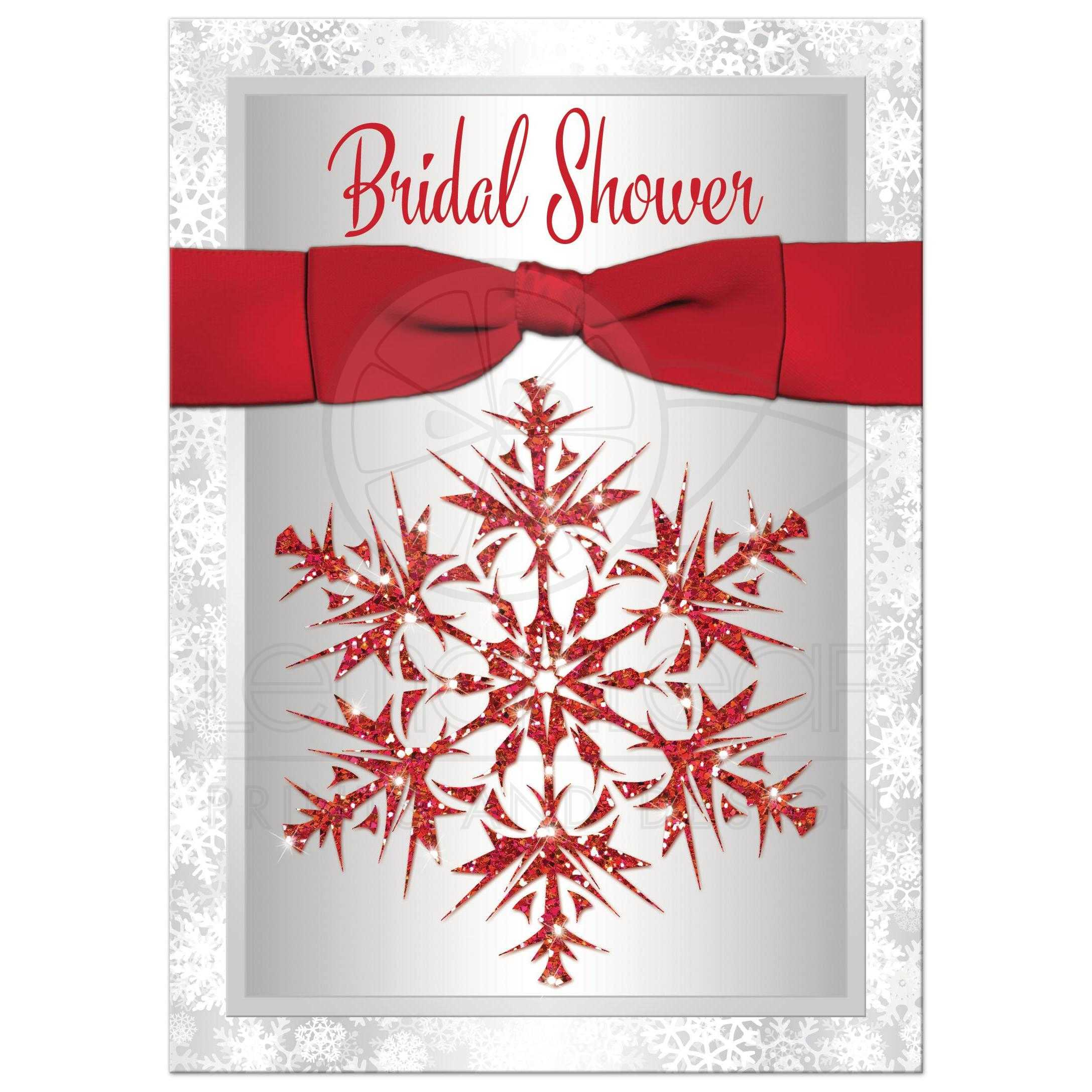 Bridal Shower Invitation | Red, Gray, White | Simulated Glitter ...