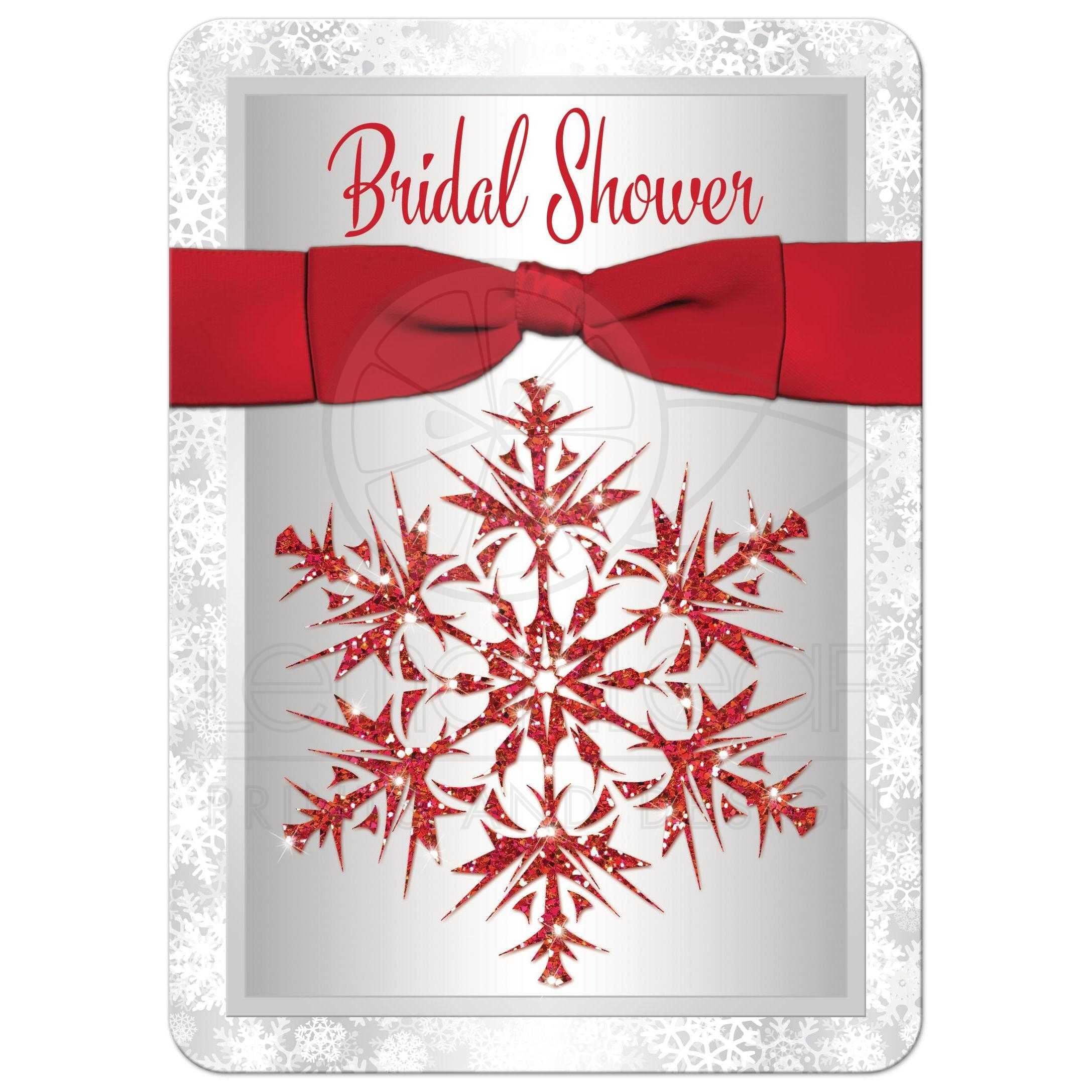 Christmas wedding dress 101 -  Great Silver And White Snowflakes Winter Wedding Bridal Or Couples Shower Invitation With A Red