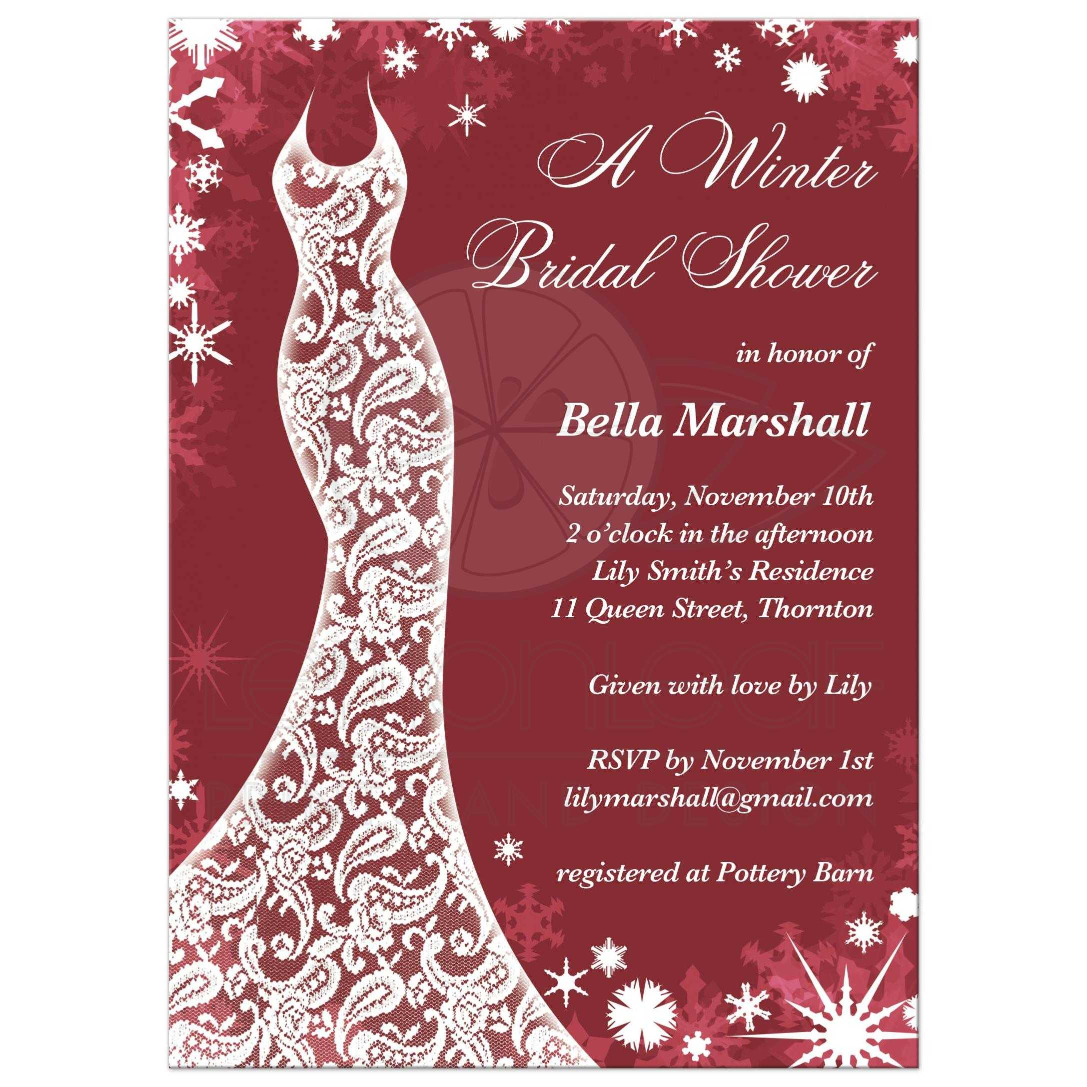 Bridal Shower Invitation - Beautiful Winter Marsala