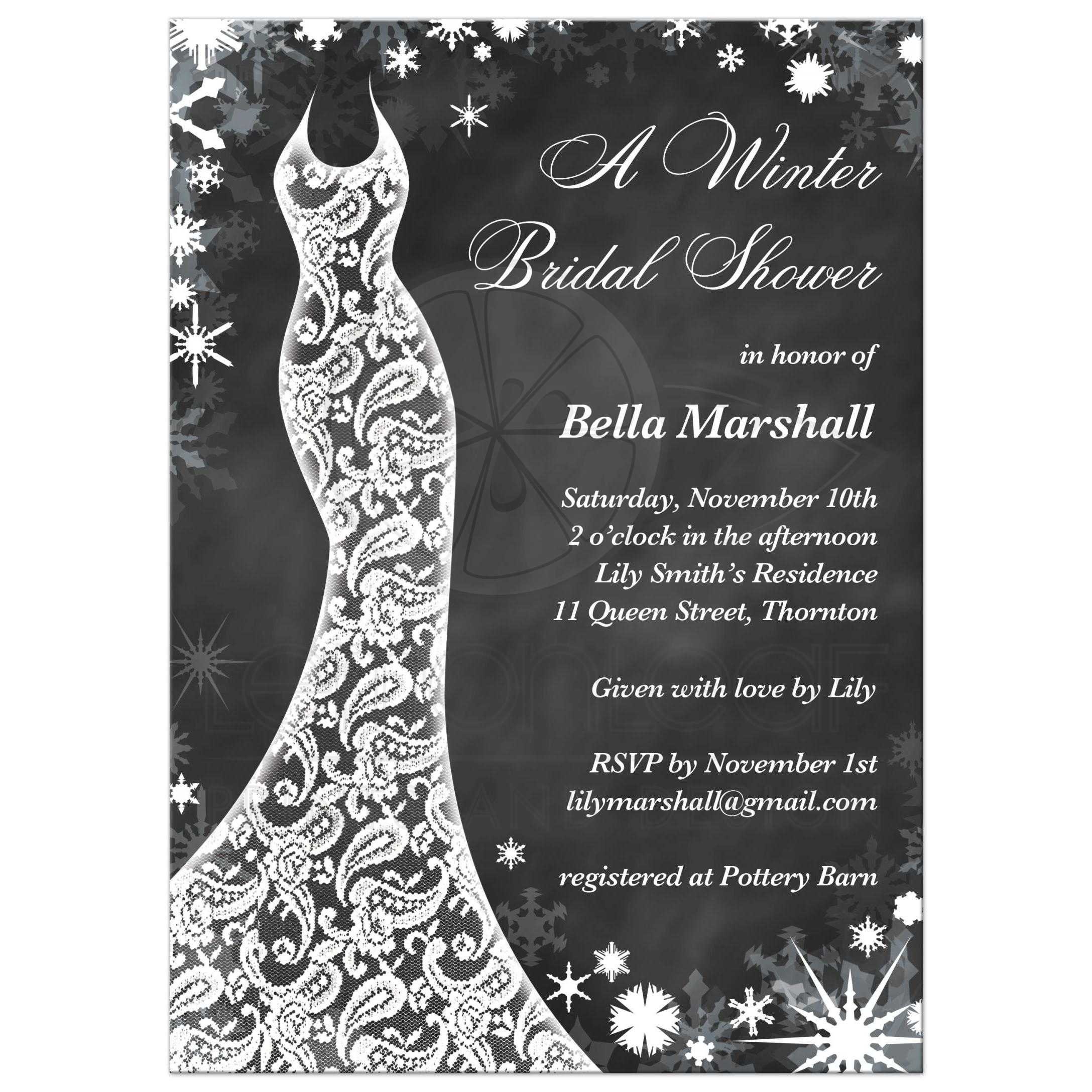 Bridal shower invitation beautiful winter chalkboard snowflakes and a lacy wedding dress decorate this winter bridal shower invitation filmwisefo