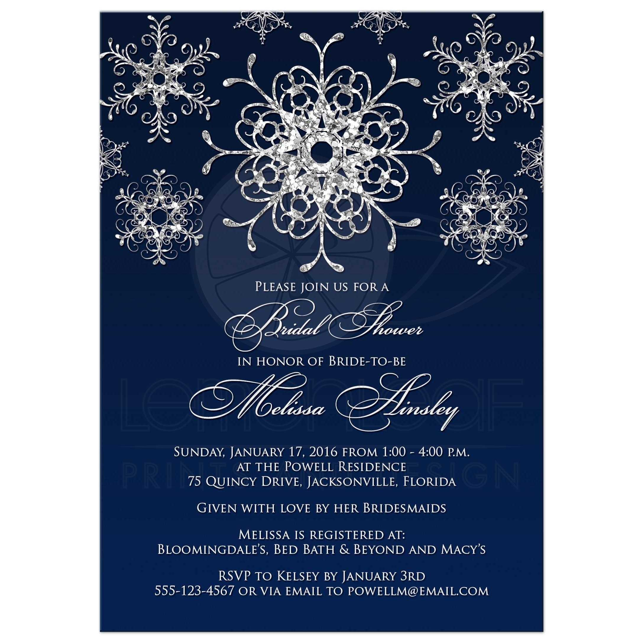 best navy blue and silver glitter snowflakes winter wonderland wedding shower bridal shower