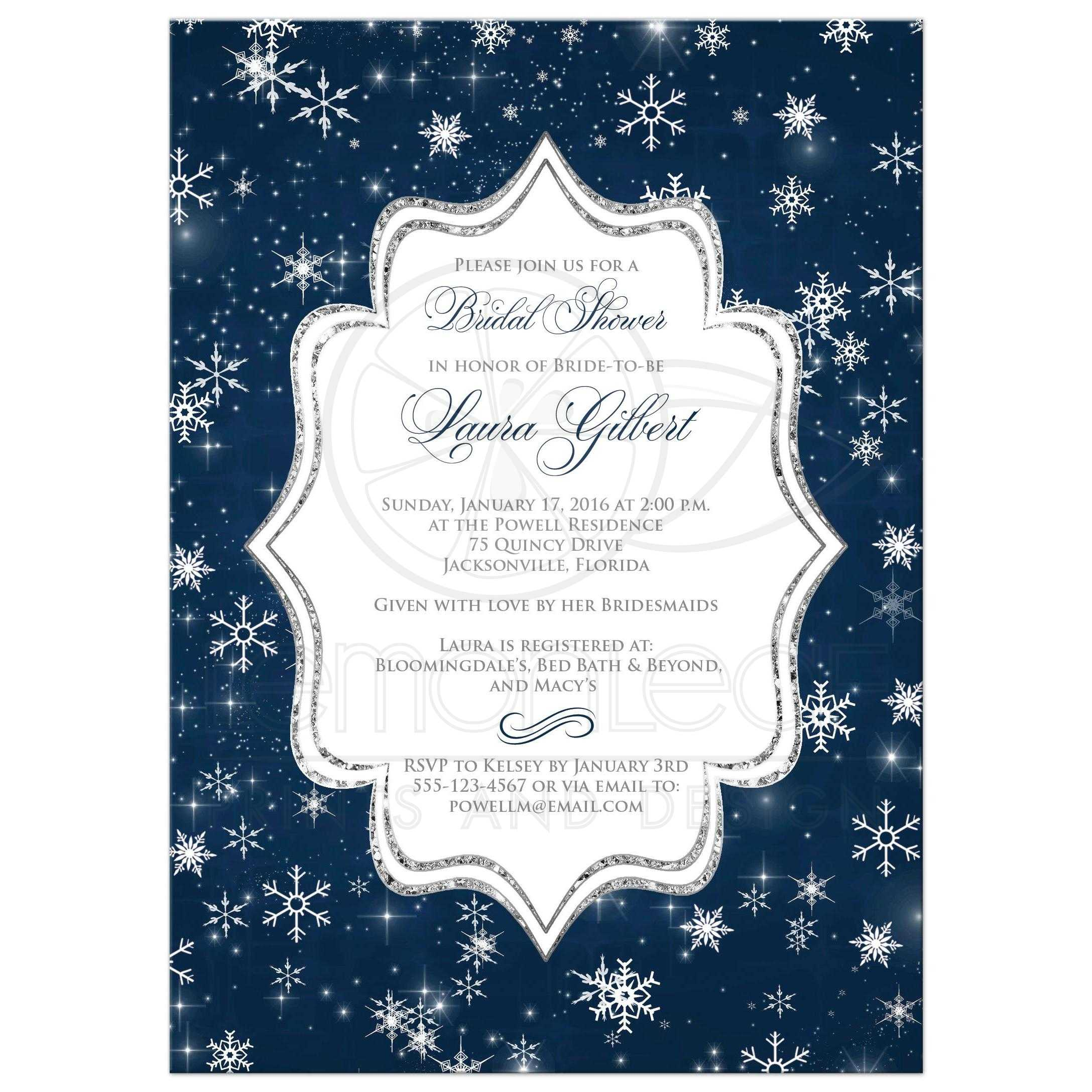 great midnight blue white silver glitter and snowflakes wedding shower bridal shower