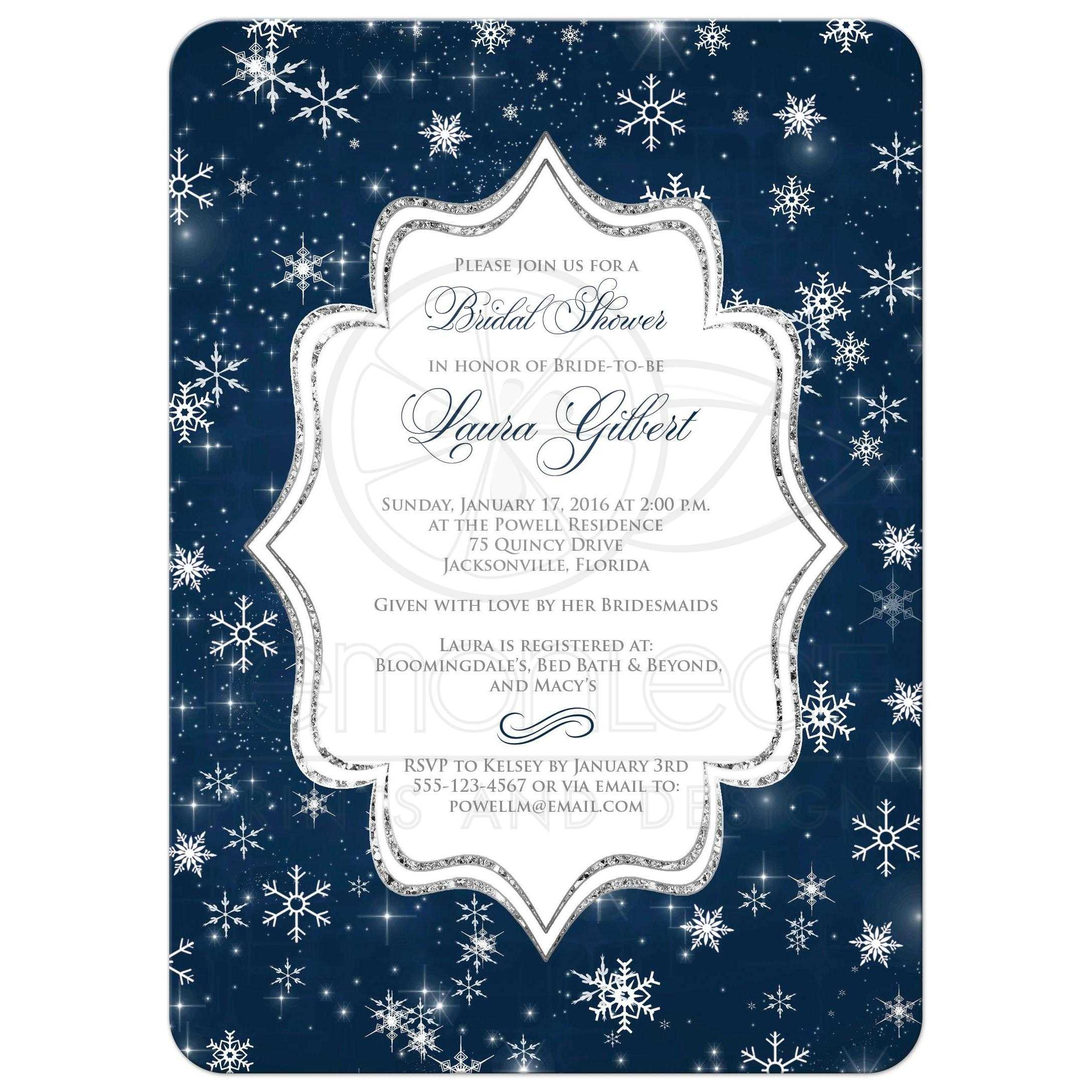 Winter bridal shower invitation a wintry night navy white great midnight blue white silver glitter and snowflakes wedding shower bridal shower filmwisefo